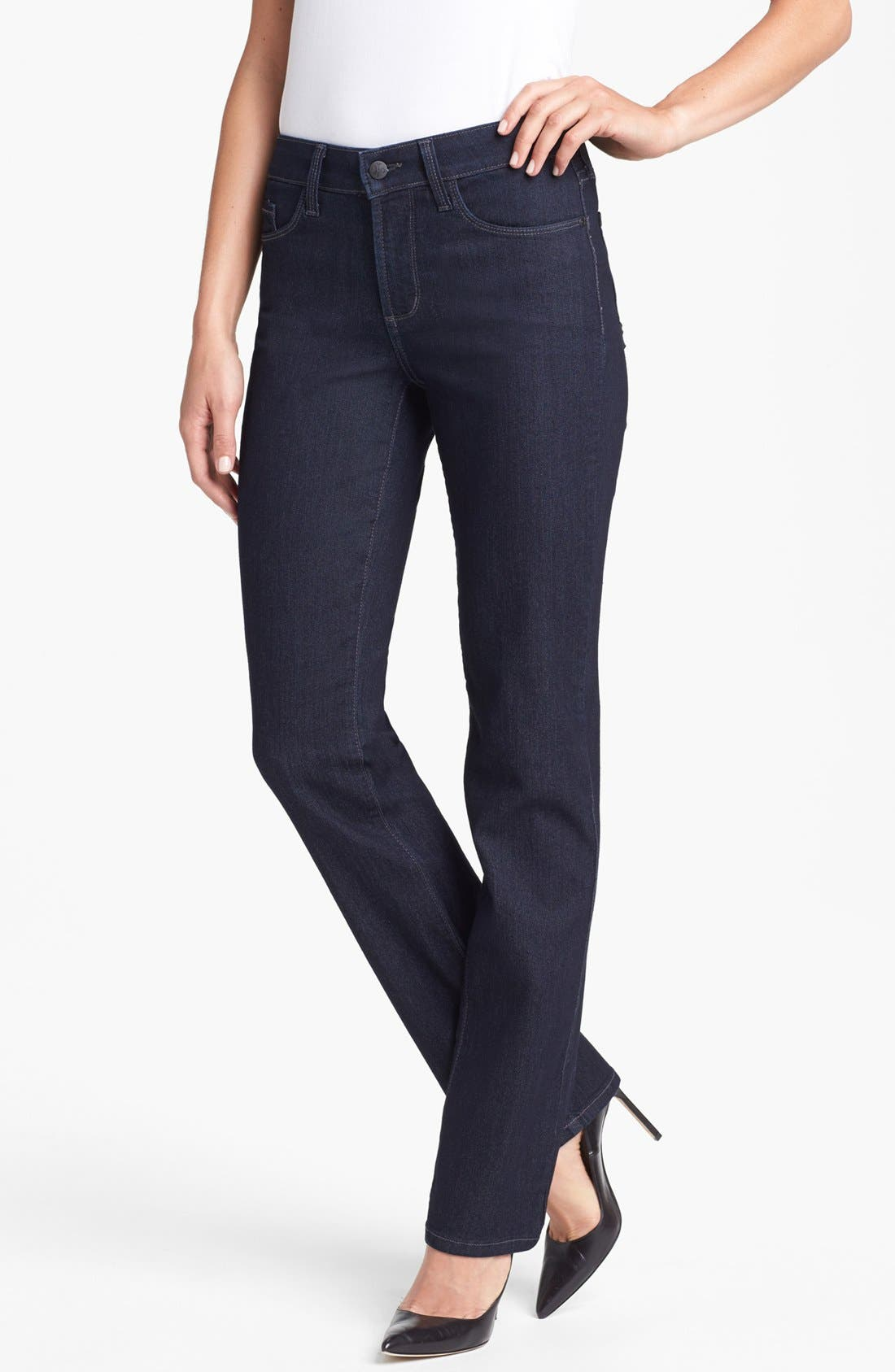 Alternate Image 1 Selected - NYDJ 'Marilyn' Embellished Pocket Stretch Straight Leg Jeans (Dark Enzyme) (Regular & Petite)
