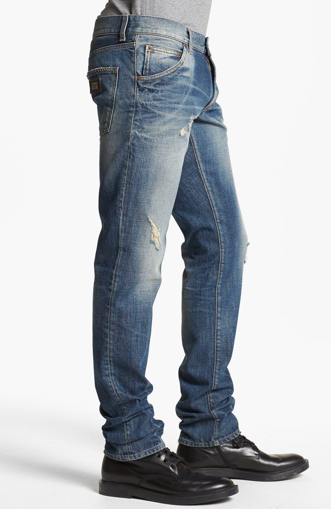 Alternate Image 3  - Dolce&Gabbana Slim Fit Jeans (Light Blue)