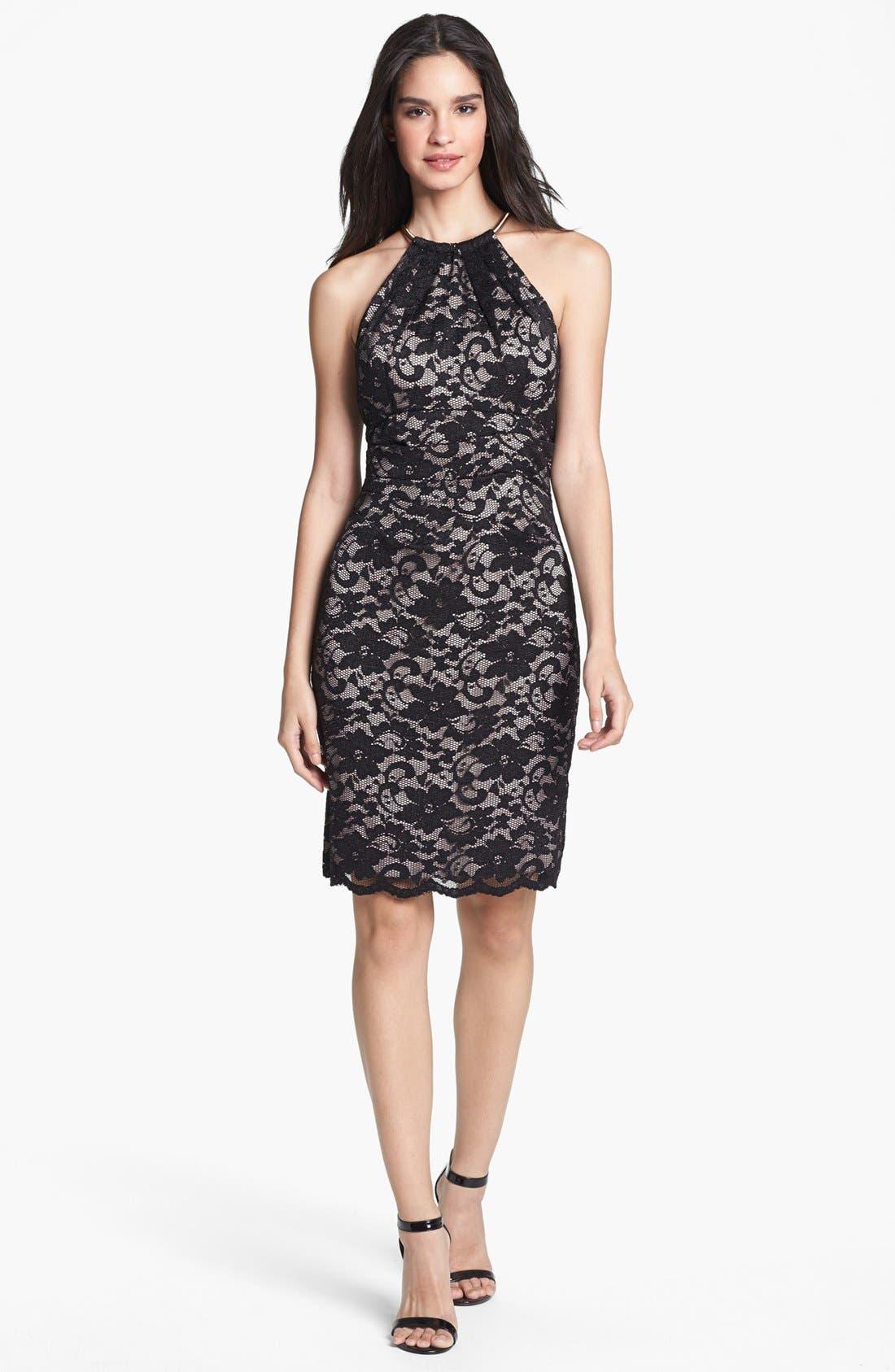 Alternate Image 3  - Eliza J Lace Metal Neckline Lace Sheath Dress