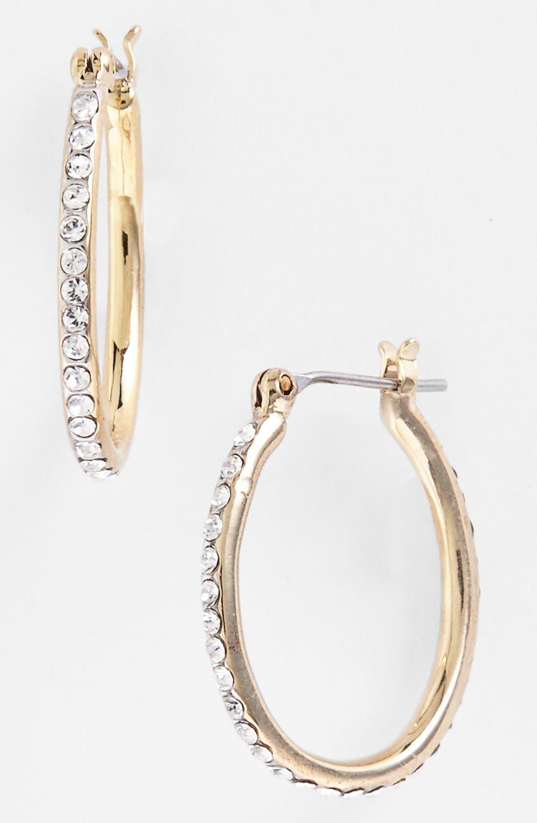 Alternate Image 1 Selected - Lauren Ralph Lauren Small Pavé Hoop Earrings