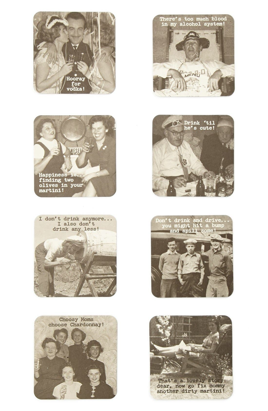 Main Image - Trash Talk by Annie 'Drink Up' Coasters (Set of 8)