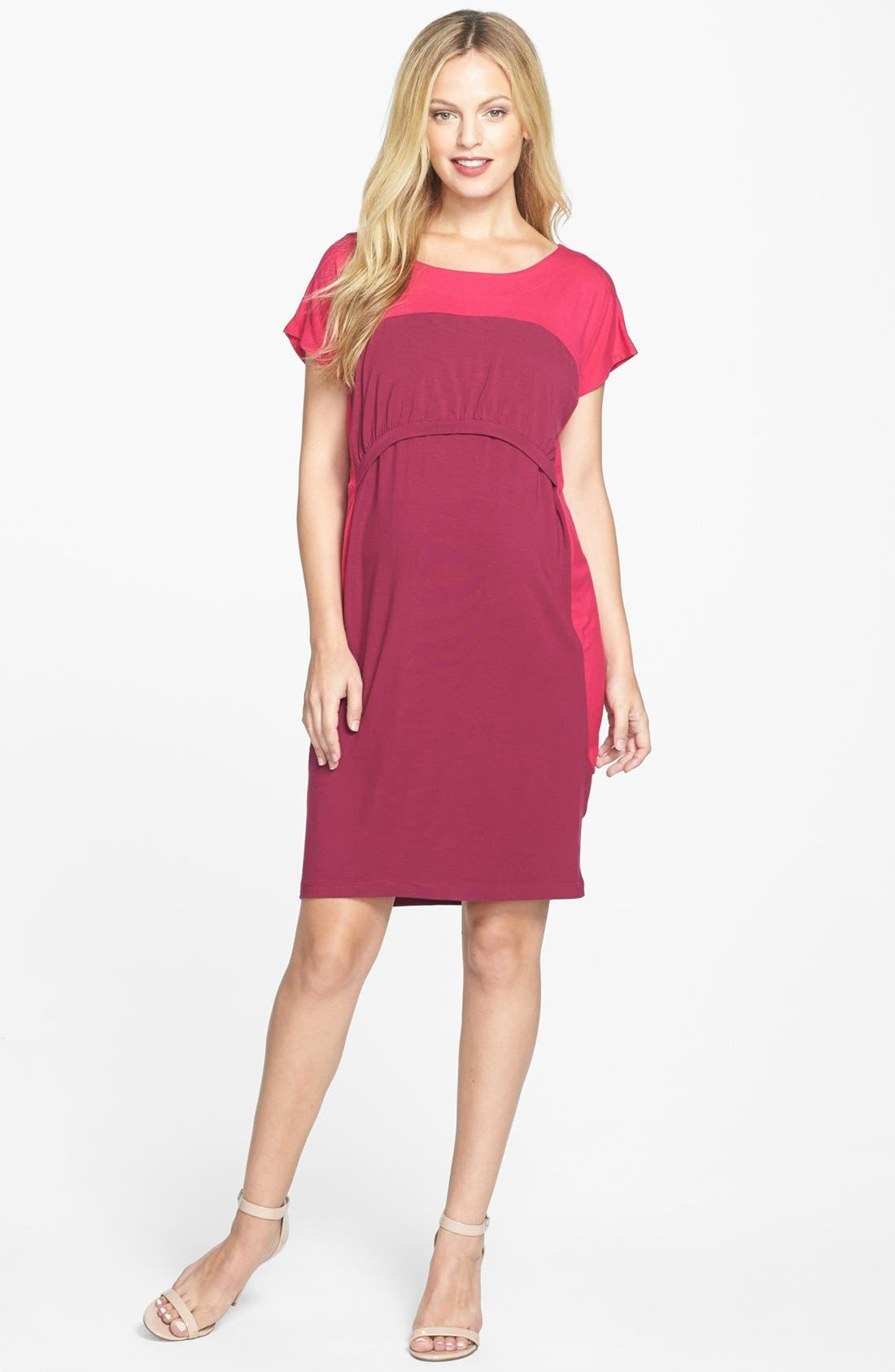 Alternate Image 1 Selected - Japanese Weekend Colorblock Maternity/Nursing Dress