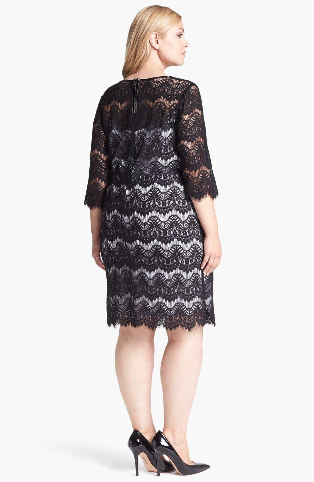 Alternate Image 2  - Calvin Klein Faux Leather Trim Lace Dress (Plus Size)