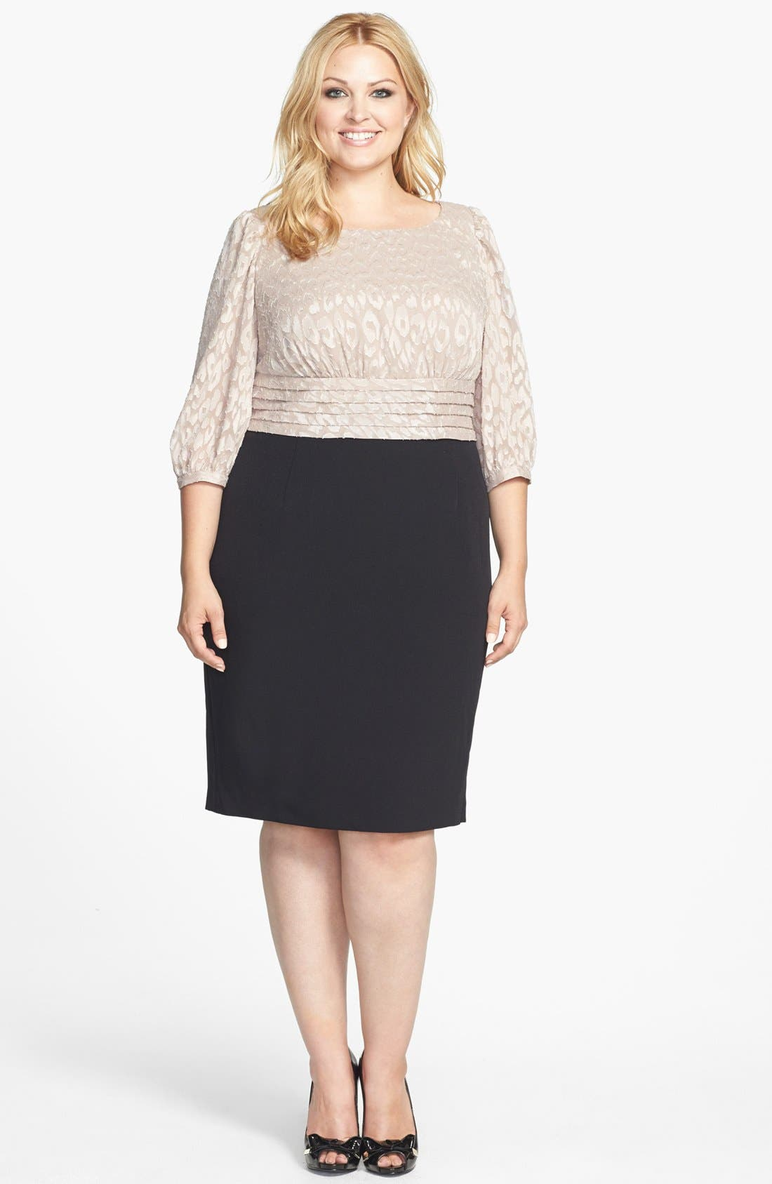 Alternate Image 1 Selected - Adrianna Papell Mixed Media Sheath Dress (Plus Size)