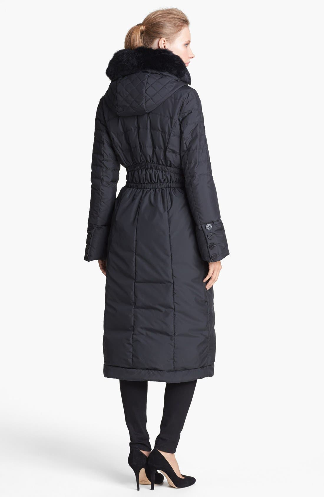 Alternate Image 2  - T Tahari 'Chiara' Genuine Rabbit Fur Trim Long Down Coat