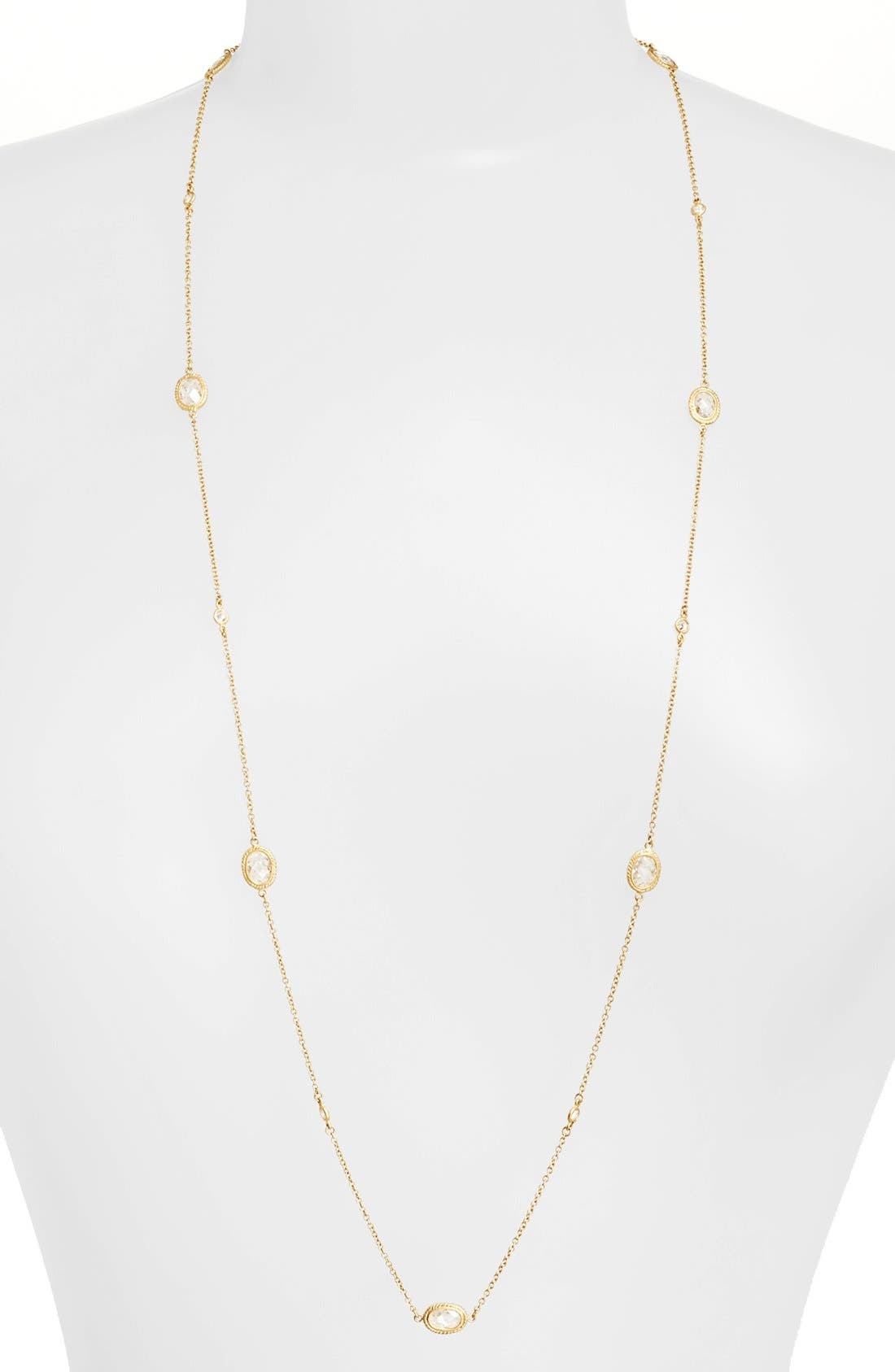 'Mercer' Raindrop Station Long Wrap Necklace,                         Main,                         color, Gold/ Clear