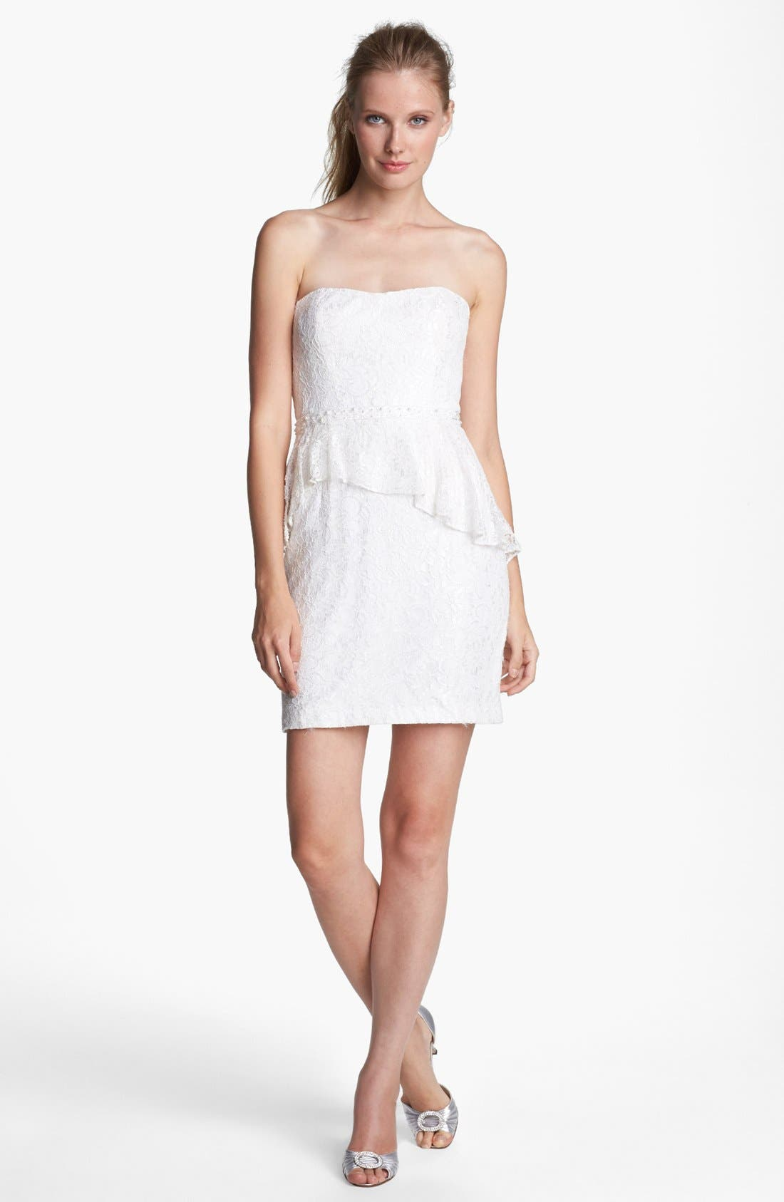 Main Image - Aidan Mattox Strapless Lace Peplum Dress