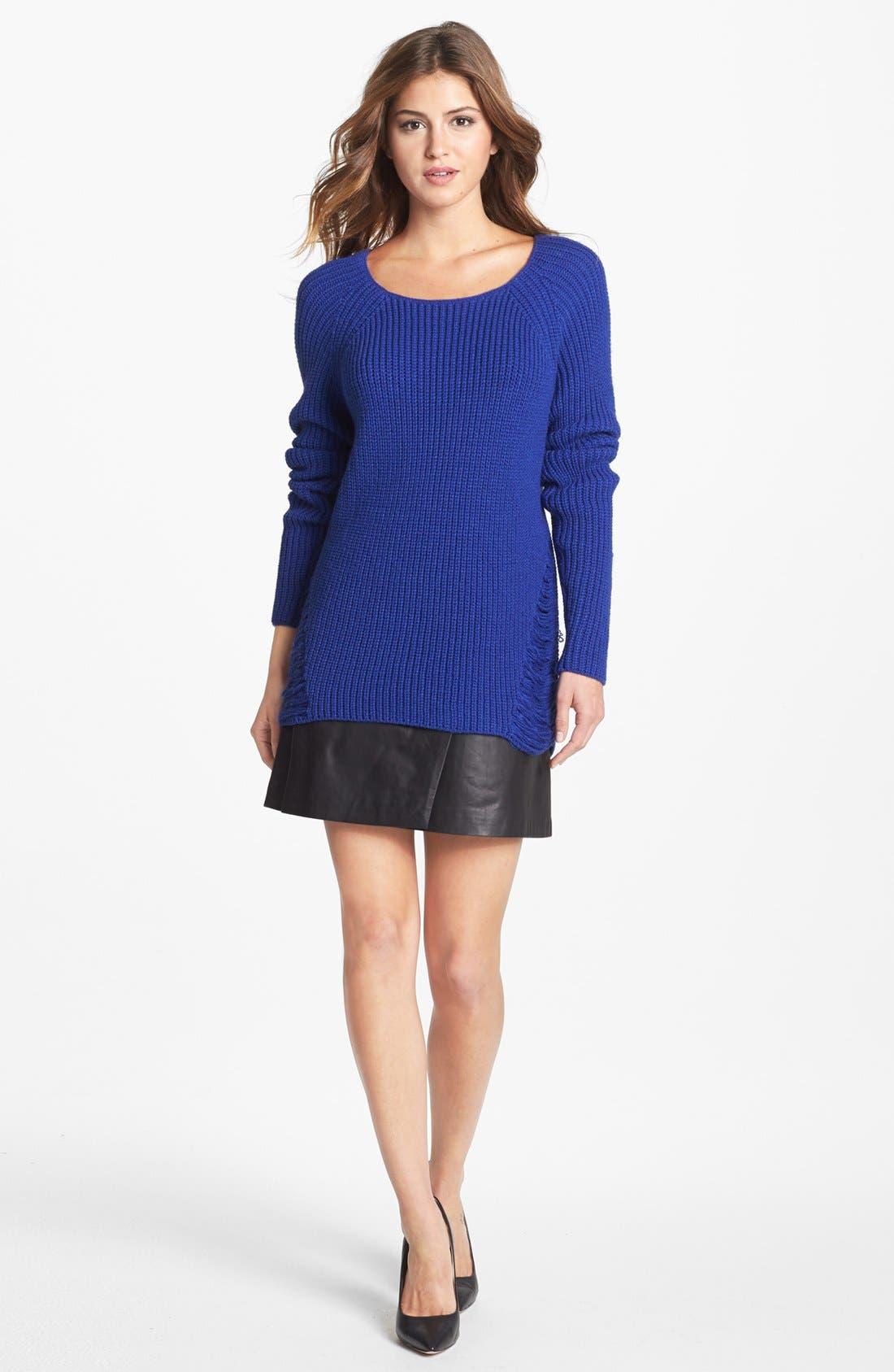 Alternate Image 4  - Halogen® Colorblock Leather Faux Wrap Skirt