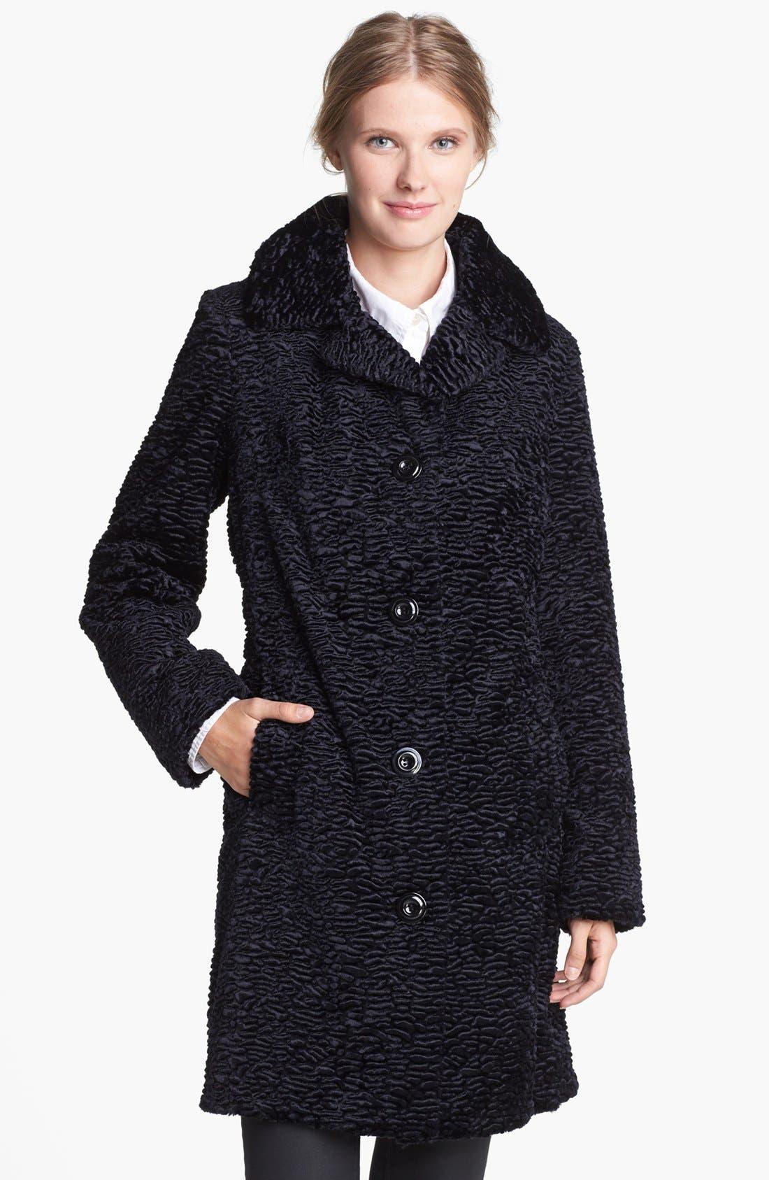 Main Image - Gallery Notch Collar Faux Persian Lamb Fur Coat (Regular & Petite)