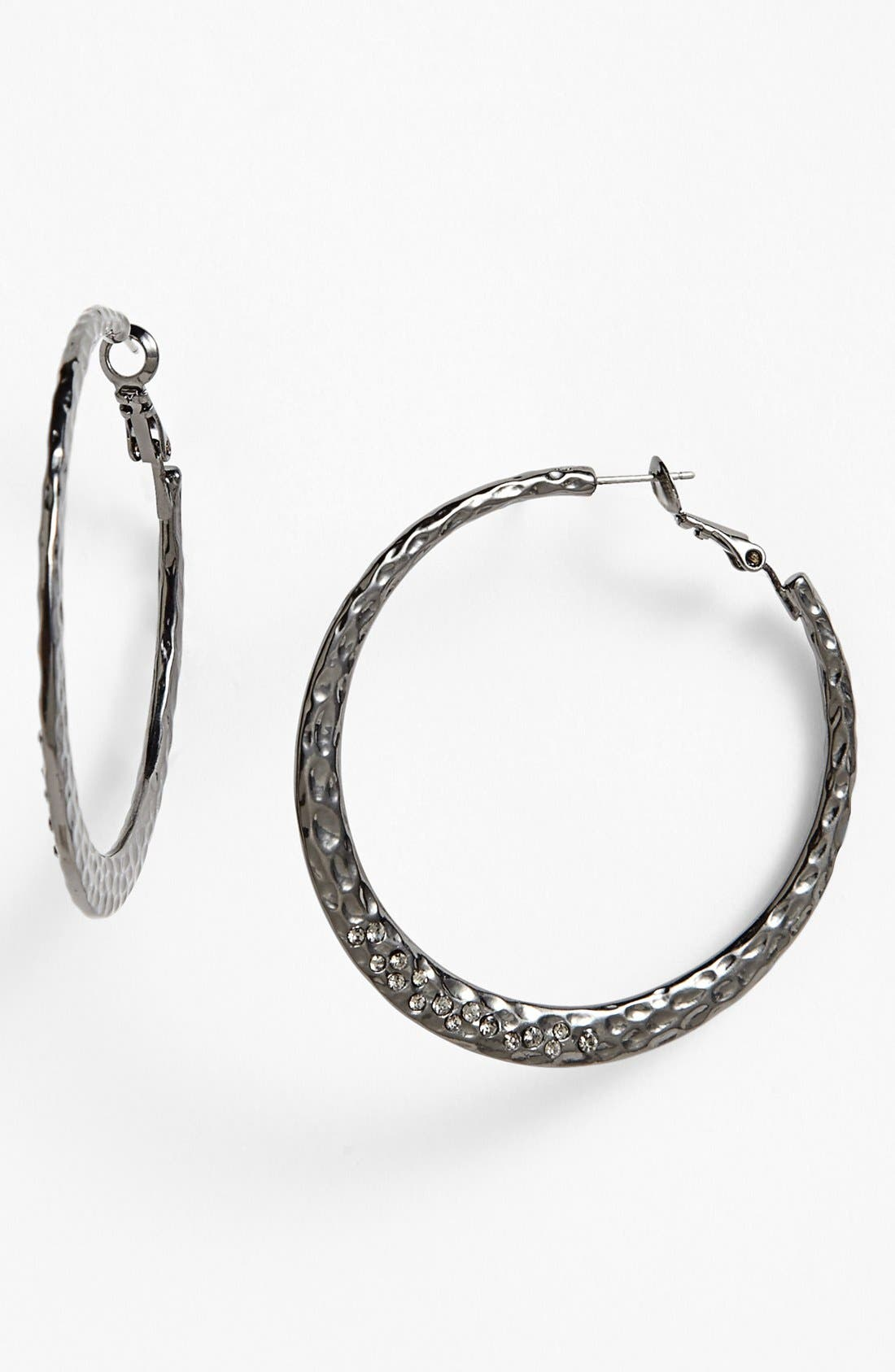 Main Image - Sequin Small Hammered Hoop Earrings