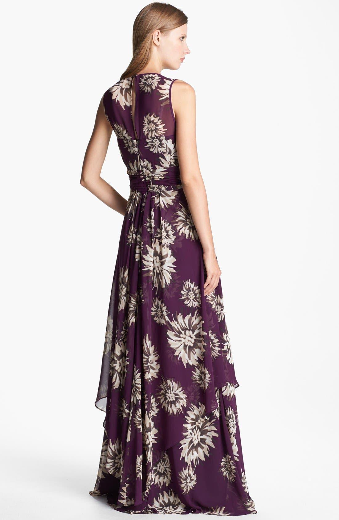 Alternate Image 2  - Eliza J Floral Print Chiffon Gown