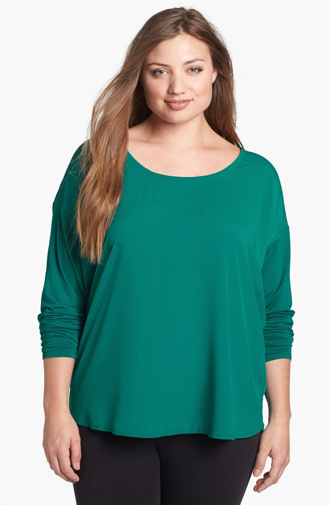 Main Image - DKNYC Mixed Media Top (Plus Size)