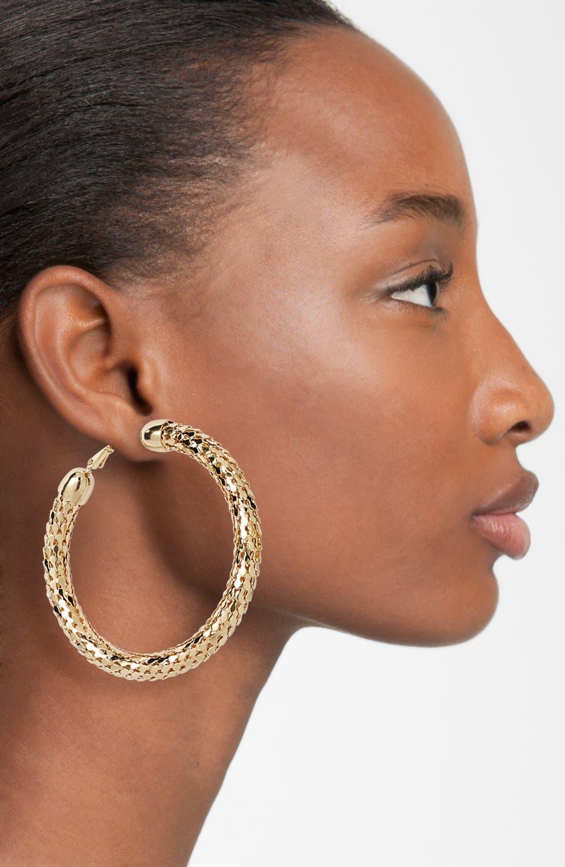 Alternate Image 2  - Sequin Large Disco Hoop Earrings