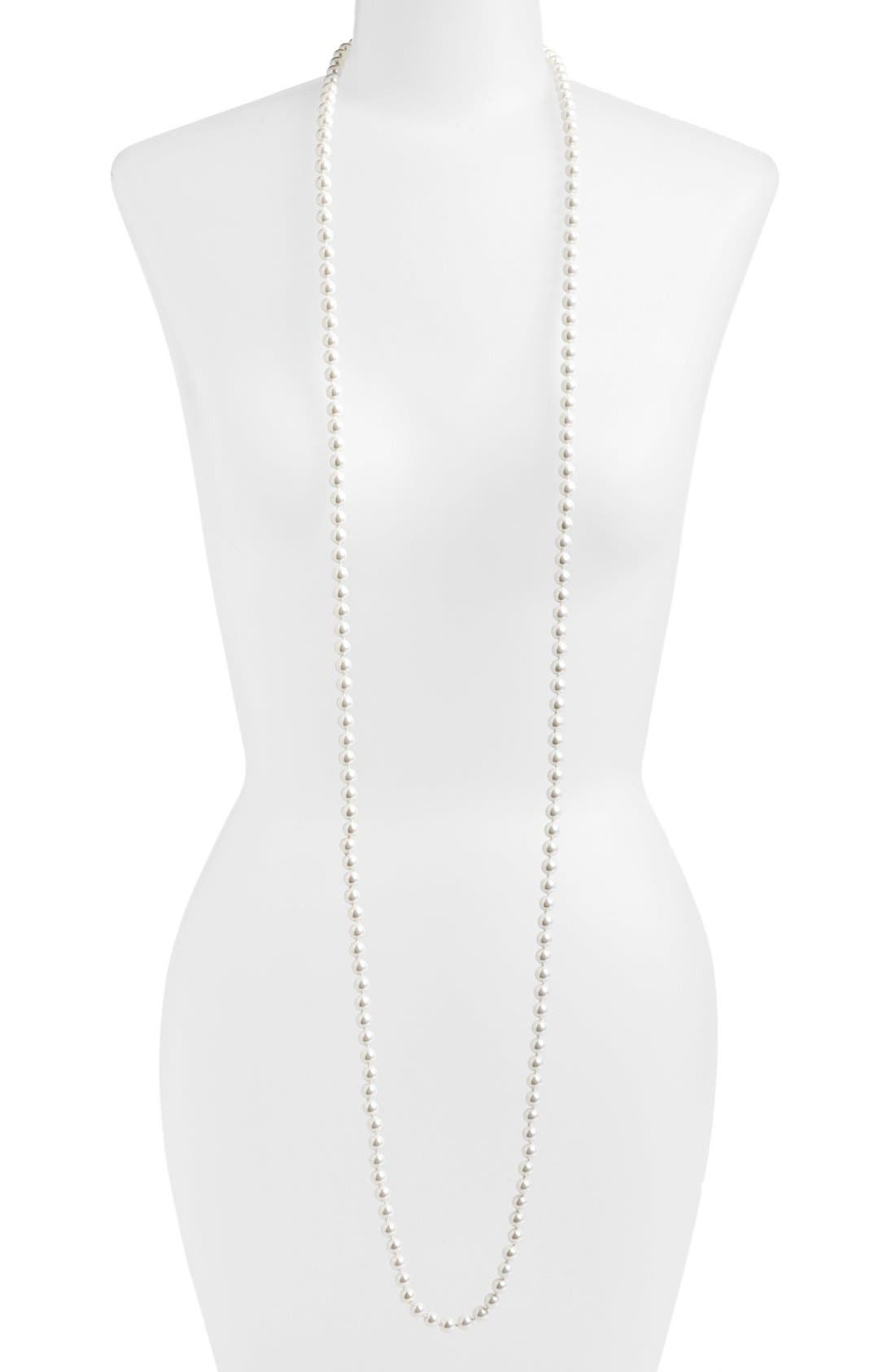 Main Image - Lauren Ralph Lauren Long Glass Pearl Rope Necklace
