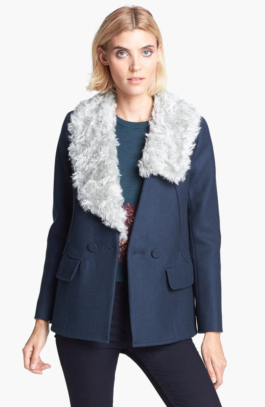 Main Image - Carven Double Breasted Coat with Removable Faux Fur Collar