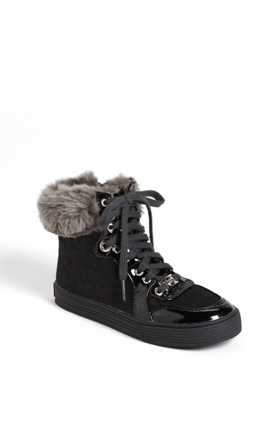 Main Image - MICHAEL Michael Kors 'Ivy' Faux Fur High Top Sneaker (Little Kid)