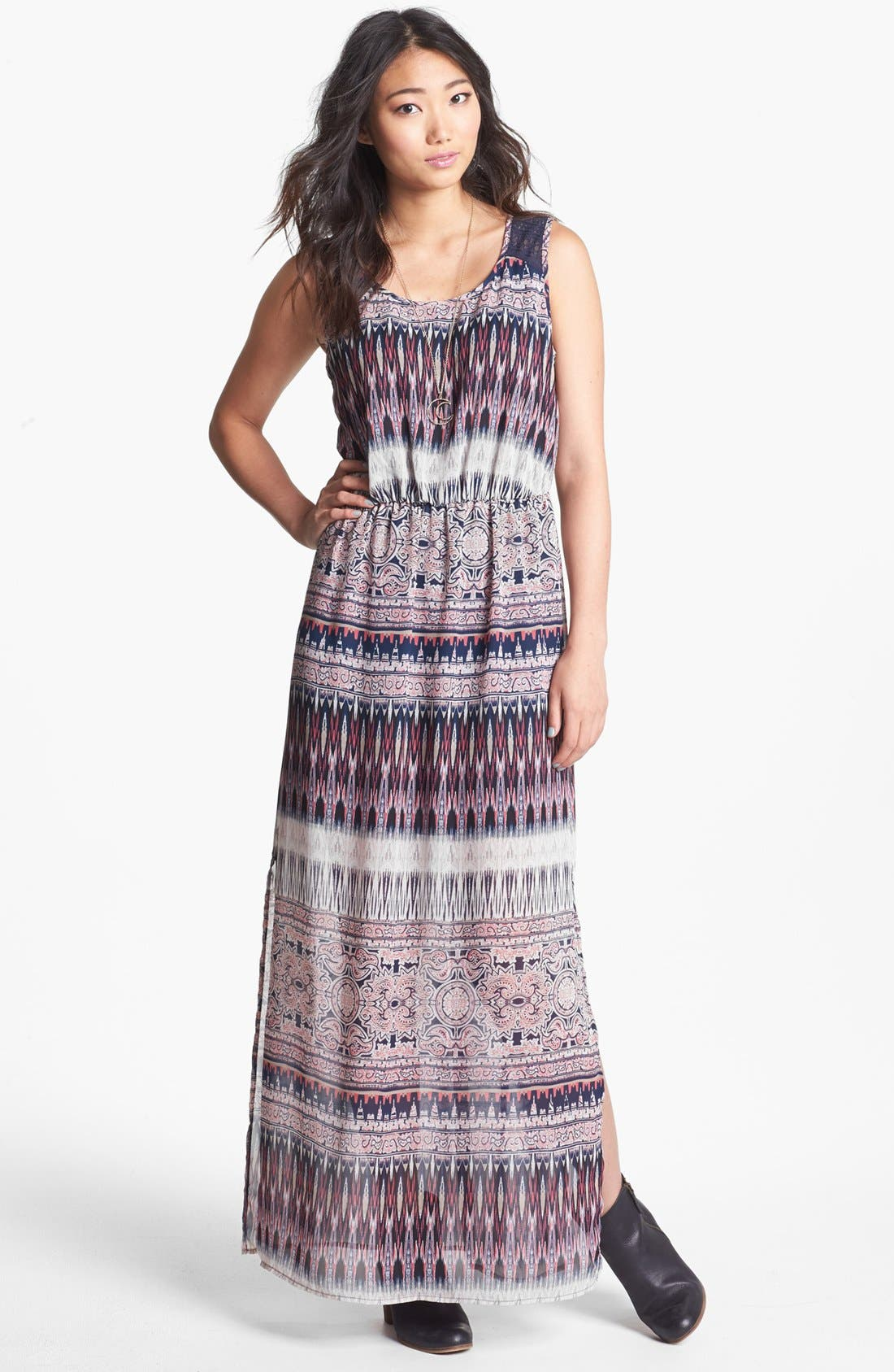 Main Image - Trixxi Lace Yoke Print Maxi Dress (Juniors)