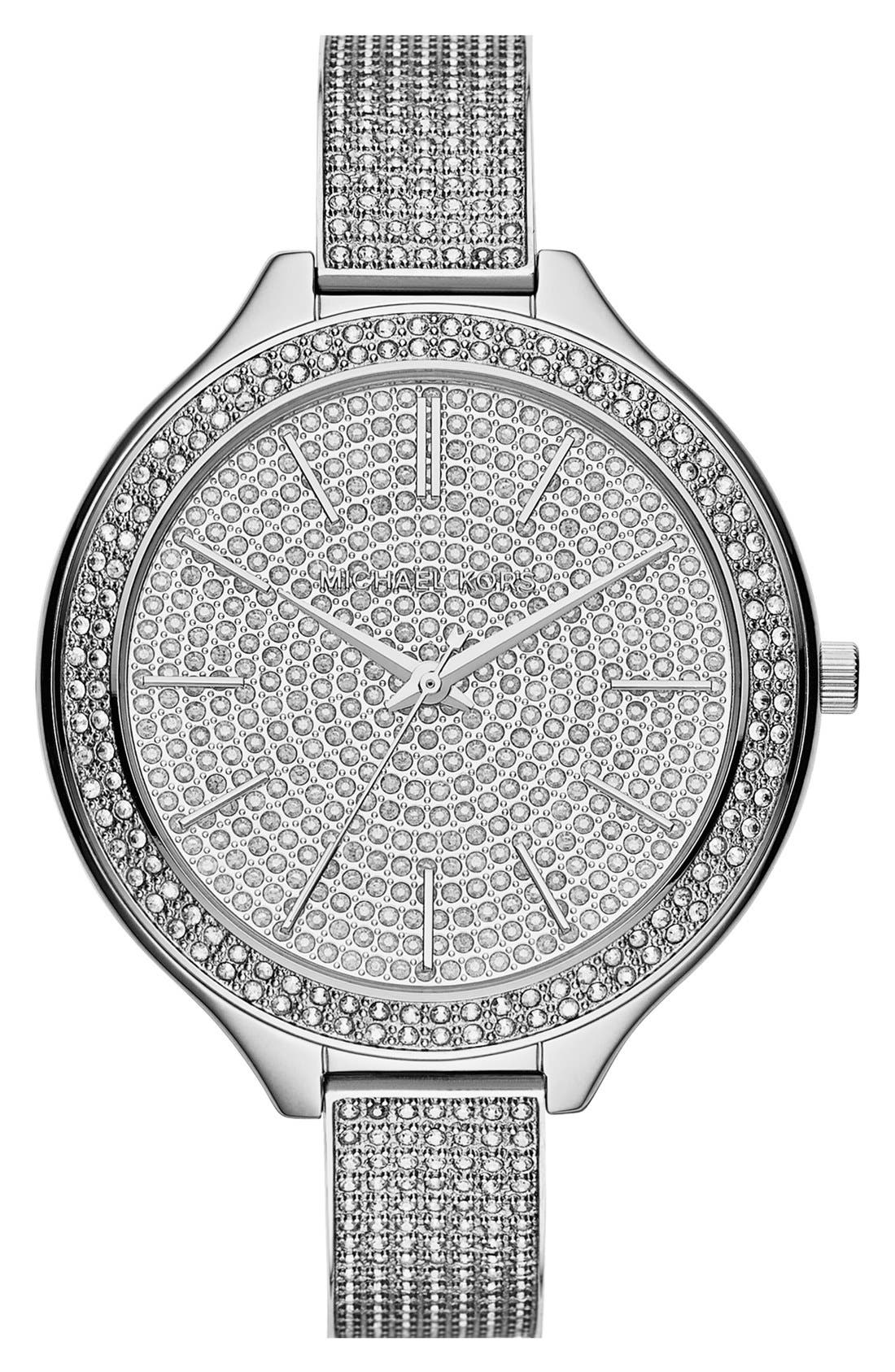 Alternate Image 1 Selected - Michael Kors 'Slim Runway' Pavé Crystal Bangle Watch, 43mm