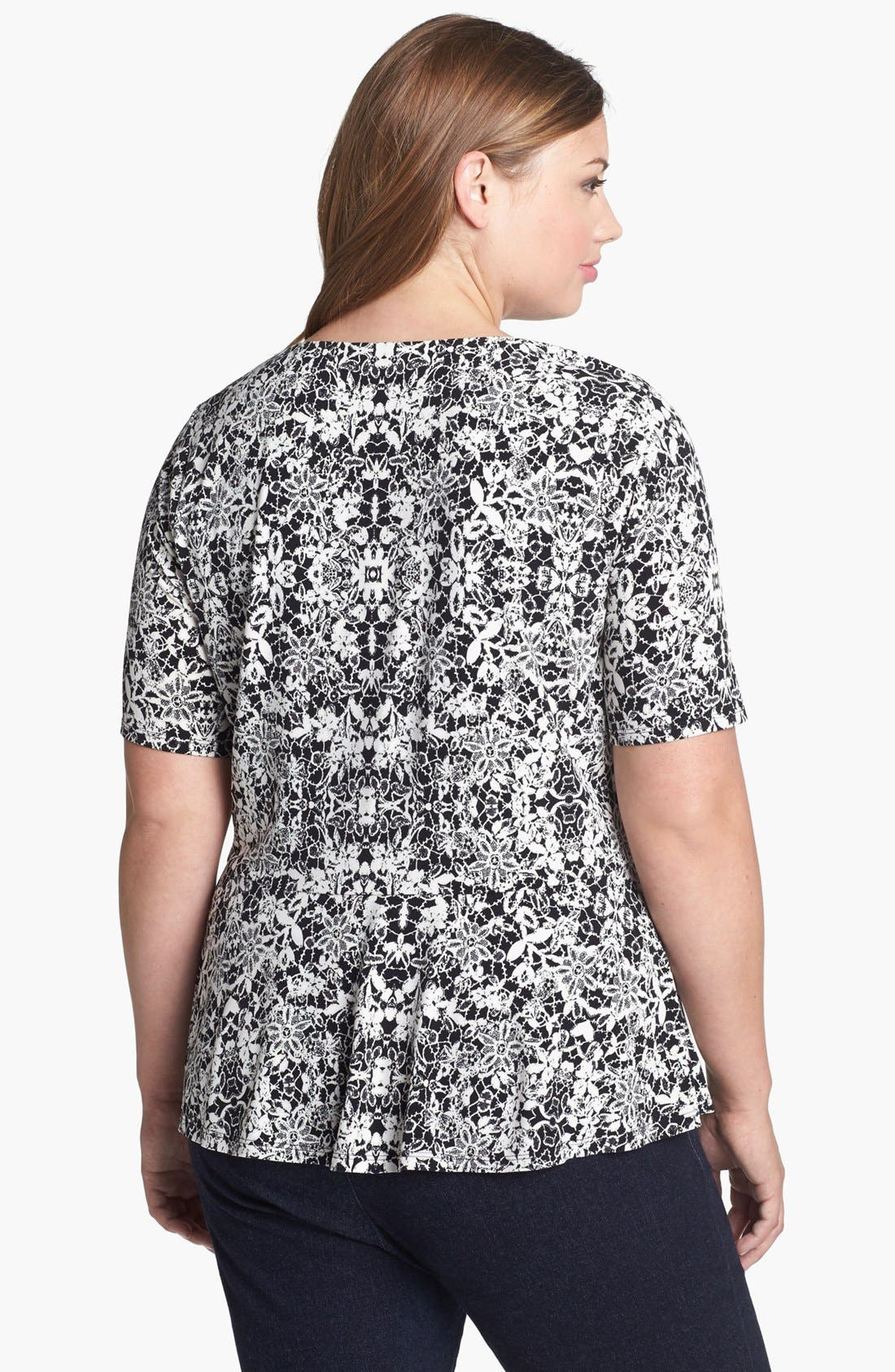 Alternate Image 2  - Vince Camuto Lace Print Peplum Top (Plus Size)