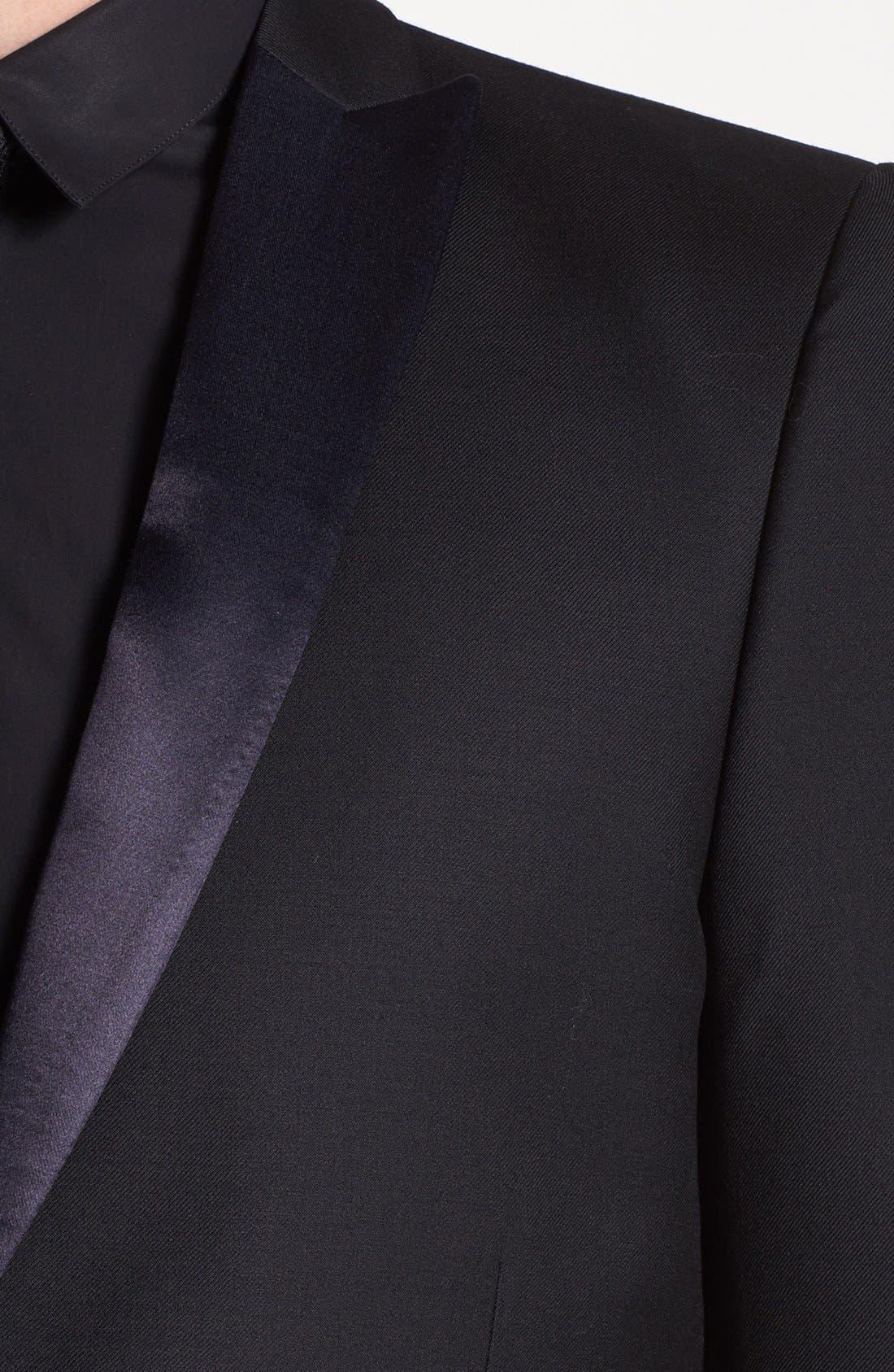 Alternate Image 2  - The Kooples Trim Fit Black Wool Tuxedo Jacket