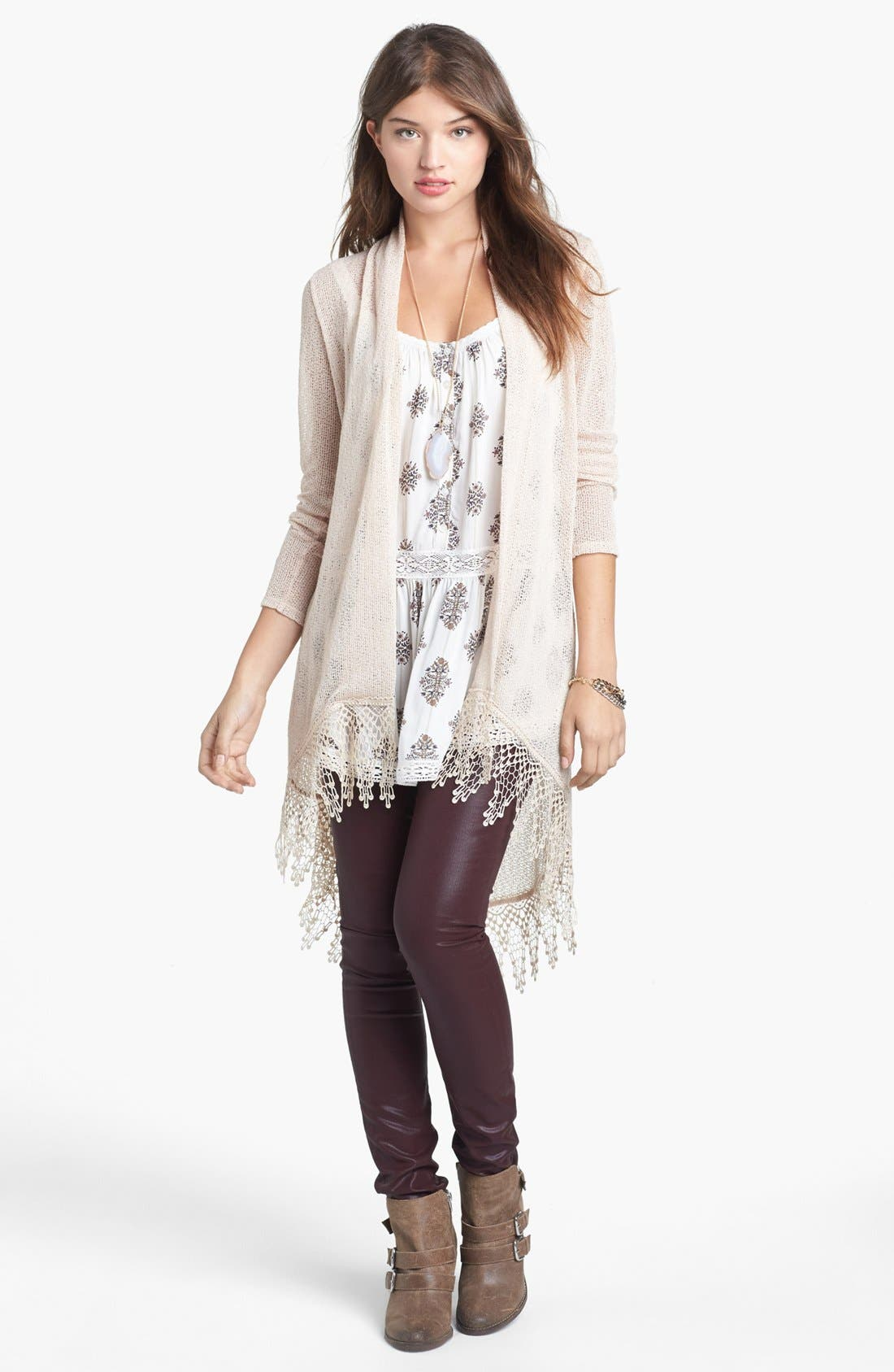 Alternate Image 1 Selected - Painted Threads Crochet High/Low Cardigan (Juniors)