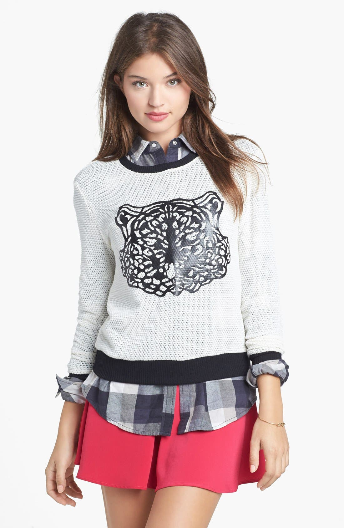 Alternate Image 1 Selected - artee couture Faux Leather Tiger Sweater (Juniors)