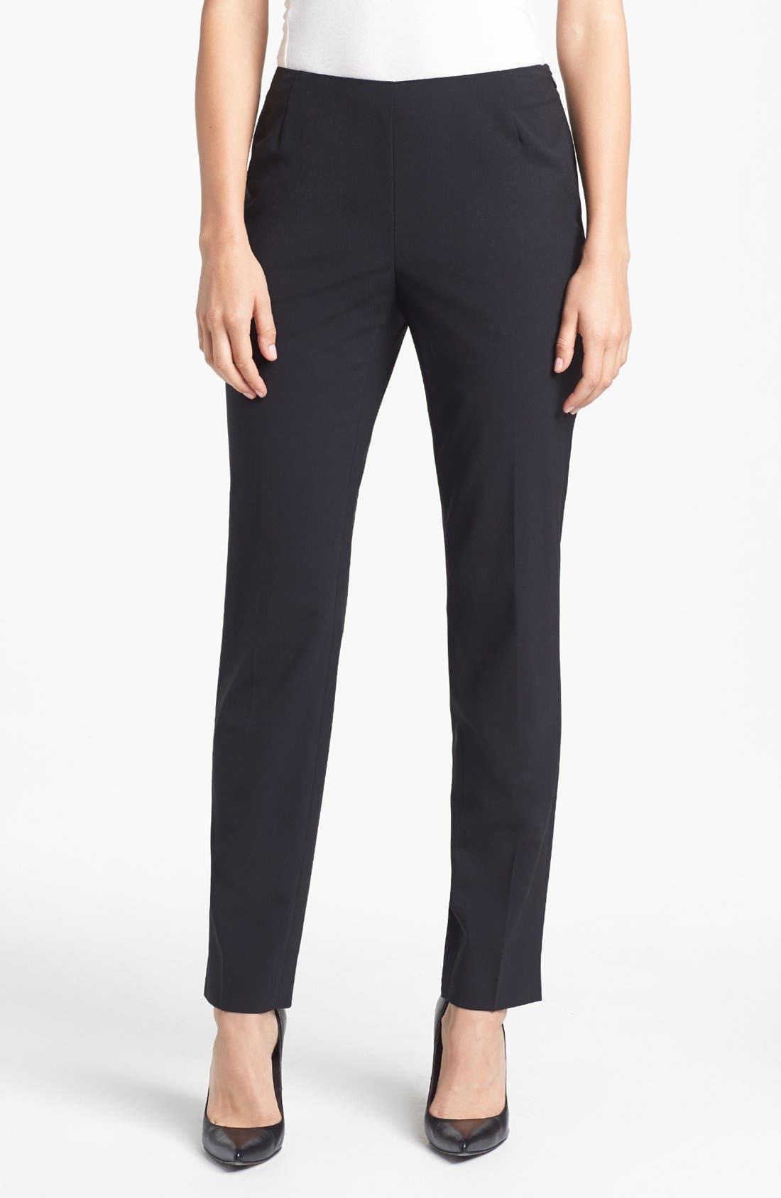 Alternate Image 1 Selected - Lafayette 148 New York Side Zip Stretch Wool Pants