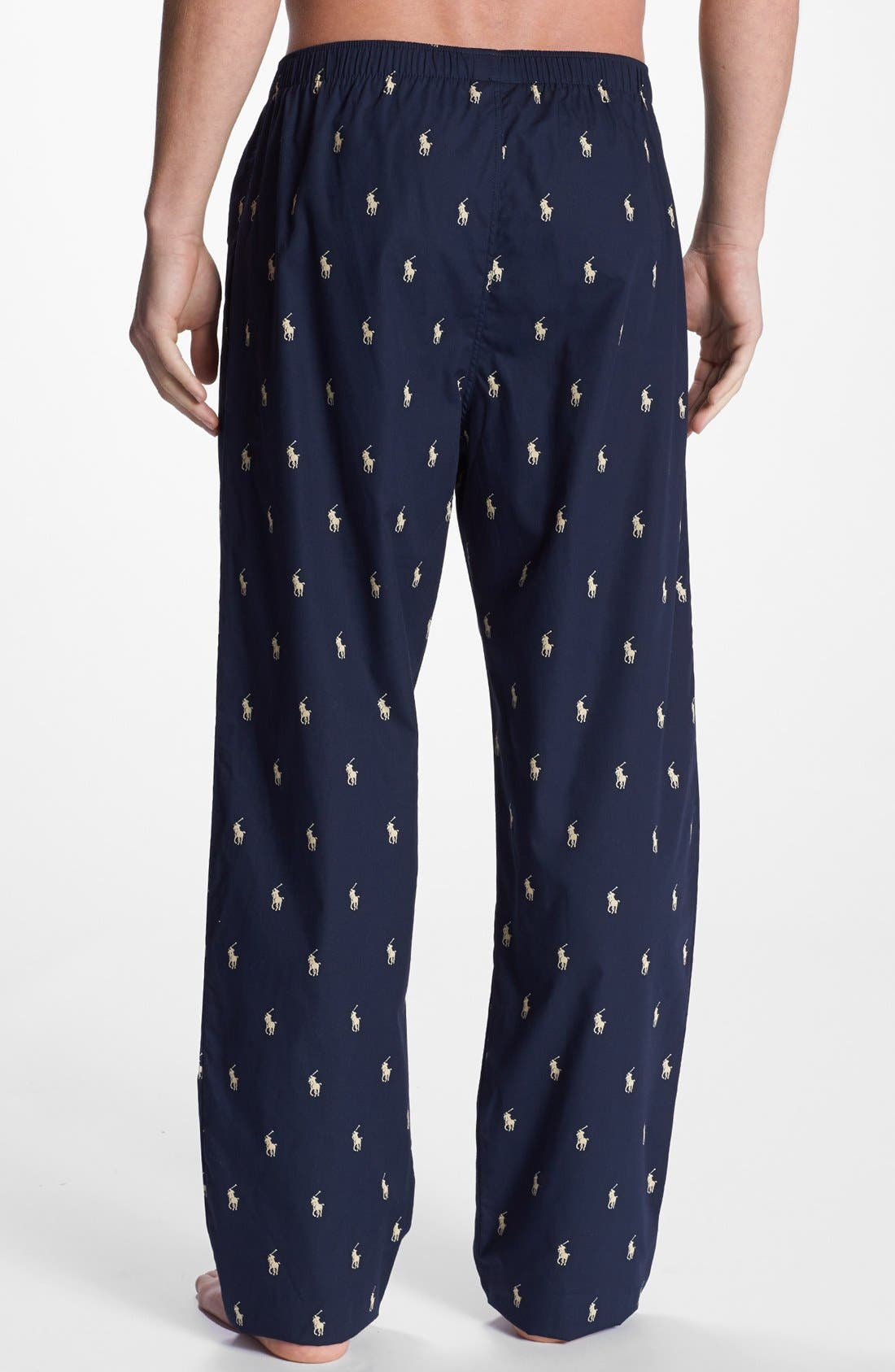 Cotton Lounge Pants,                             Alternate thumbnail 2, color,                             Navy/ White