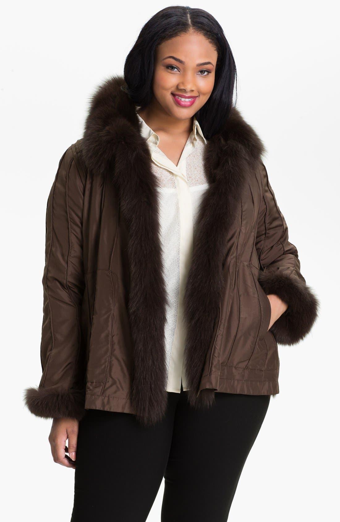 Alternate Image 2  - George Simonton Couture Reversible Silk & Genuine Fox Fur Jacket (Plus Size)