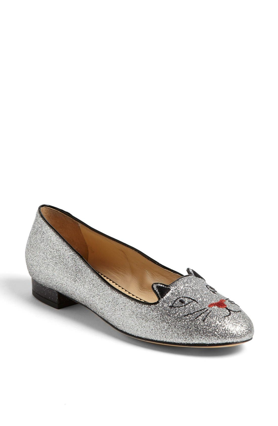 Alternate Image 1 Selected - Charlotte Olympia 'Glitter Kitty' Flat