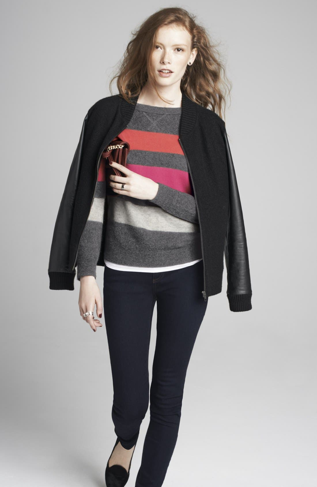 Alternate Image 4  - Halogen® Wool & Faux Leather Jacket (Plus Size)