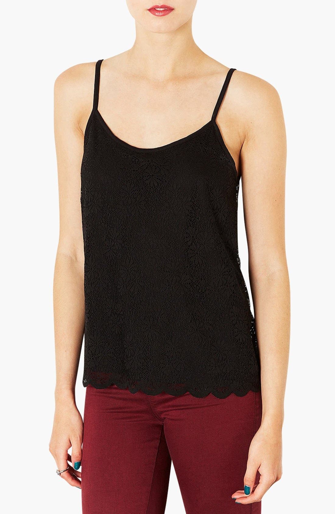 Main Image - Topshop Scallop Lace Camisole