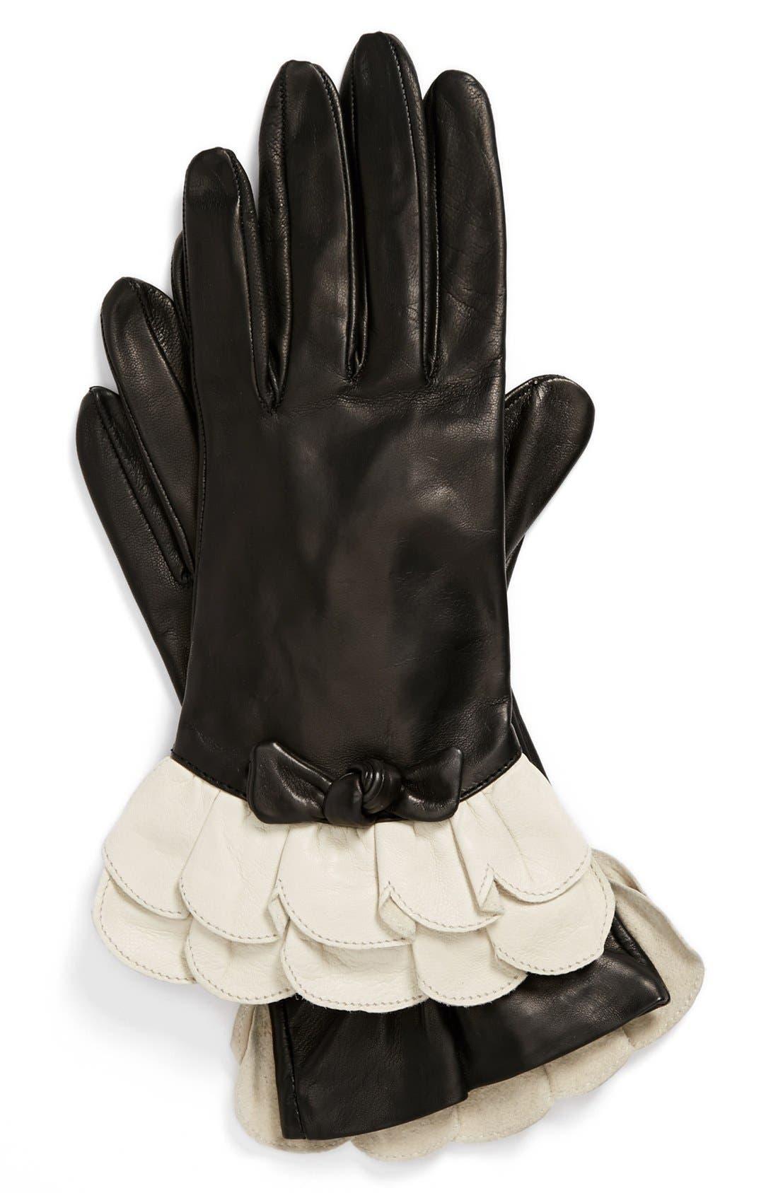 Alternate Image 1 Selected - Portolano Ruffled Leather Gloves