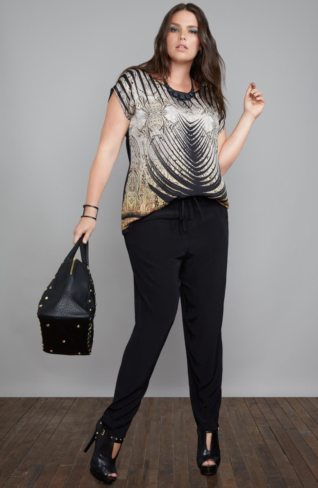 Alternate Image 4  - Evans Mixed Print High/Low Top (Plus Size)