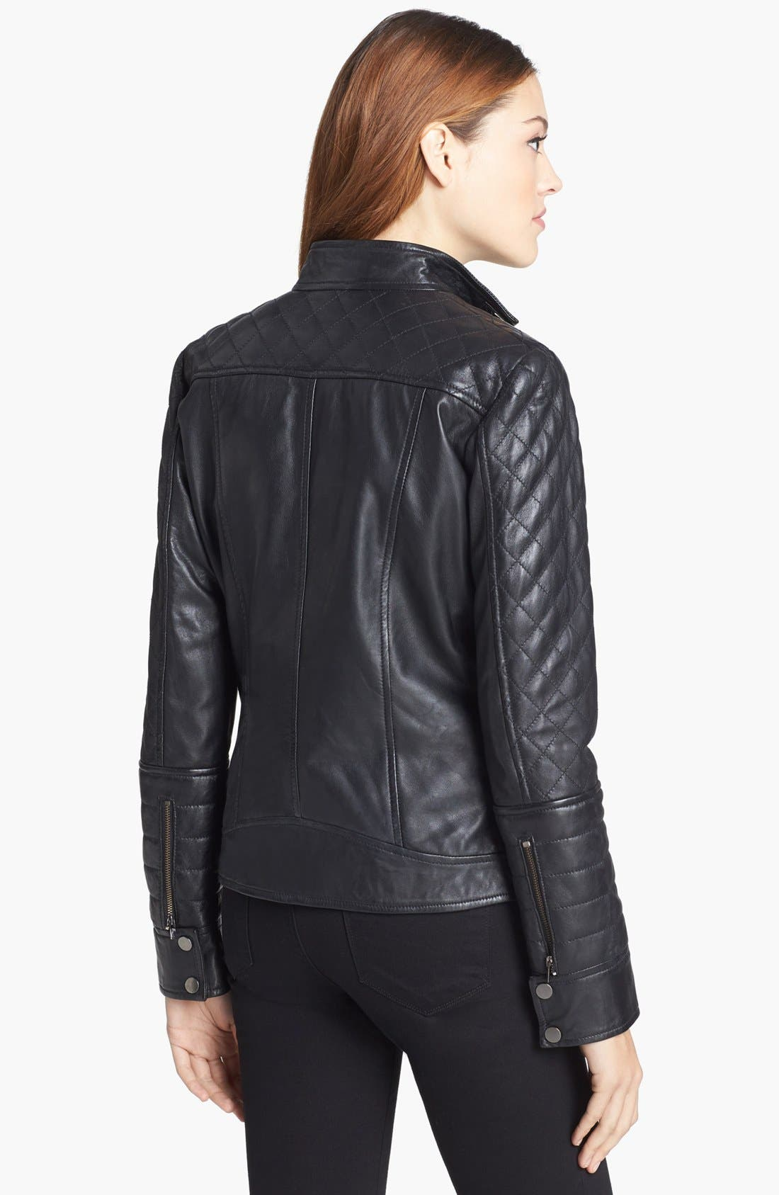 Alternate Image 2  - LaMarque Quilted Leather Biker Jacket