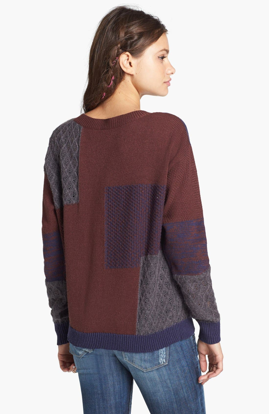 Alternate Image 2  - Rubbish® Mixed Pattern Sweater (Juniors)