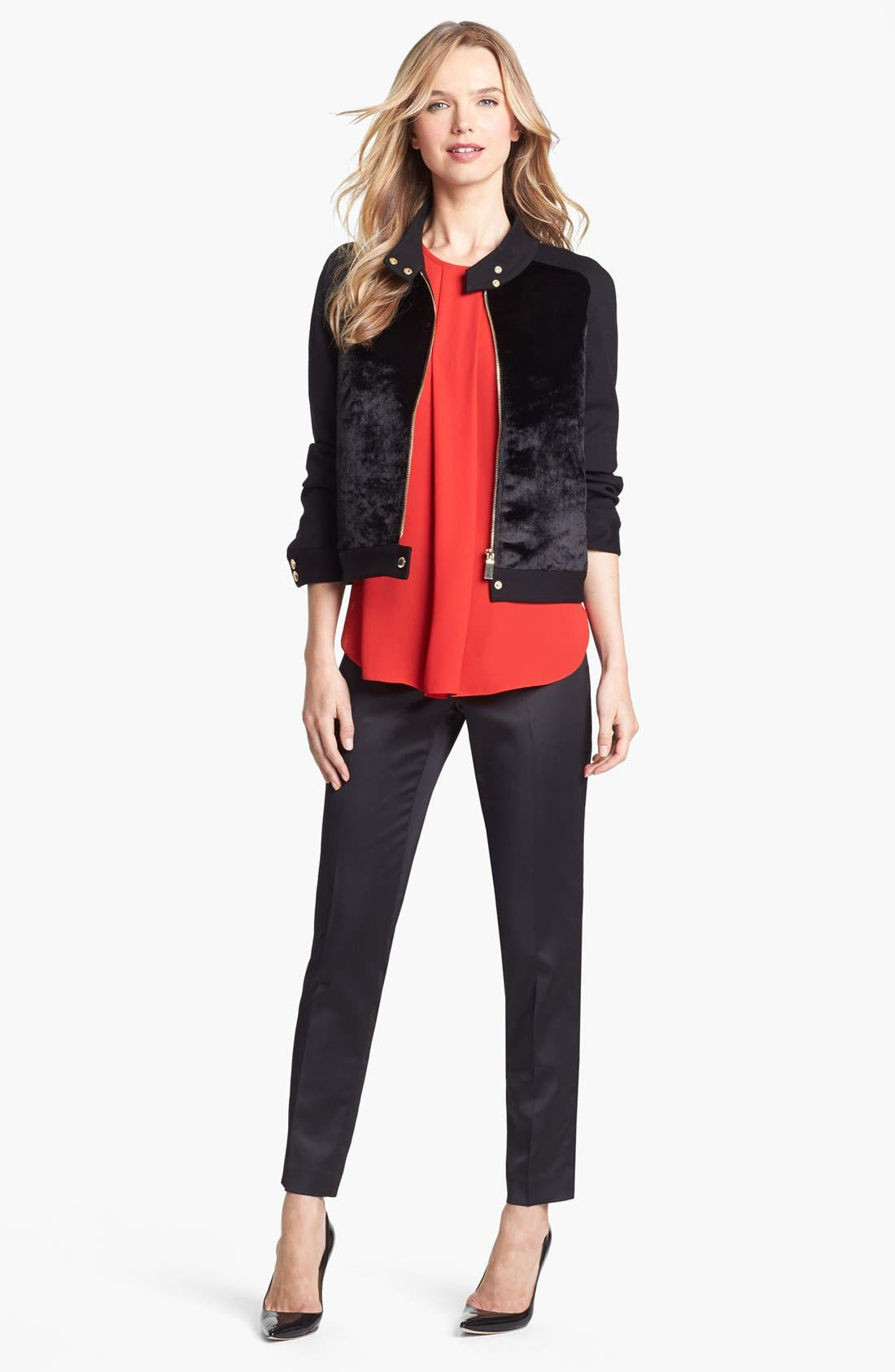 Alternate Image 4  - Vince Camuto Faux Calf Hair & Ponte Knit Jacket
