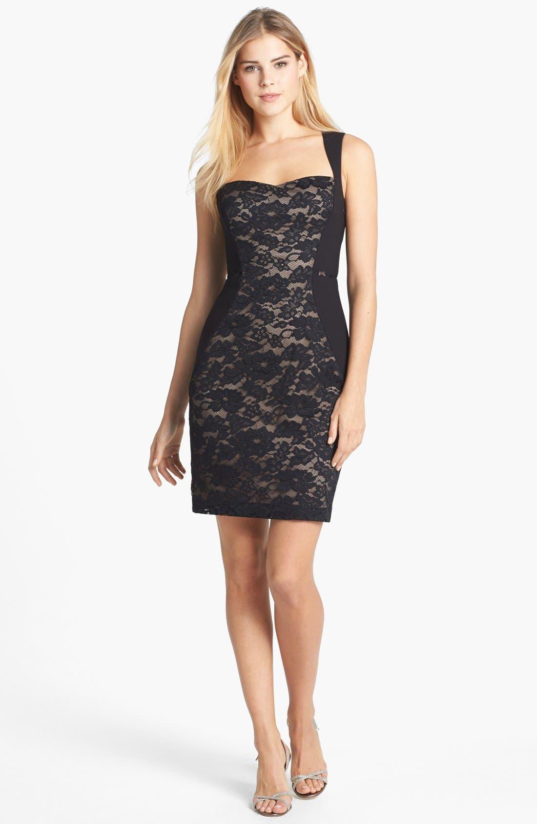 Main Image - Aidan Mattox Lace Paneled Body-Con Dress