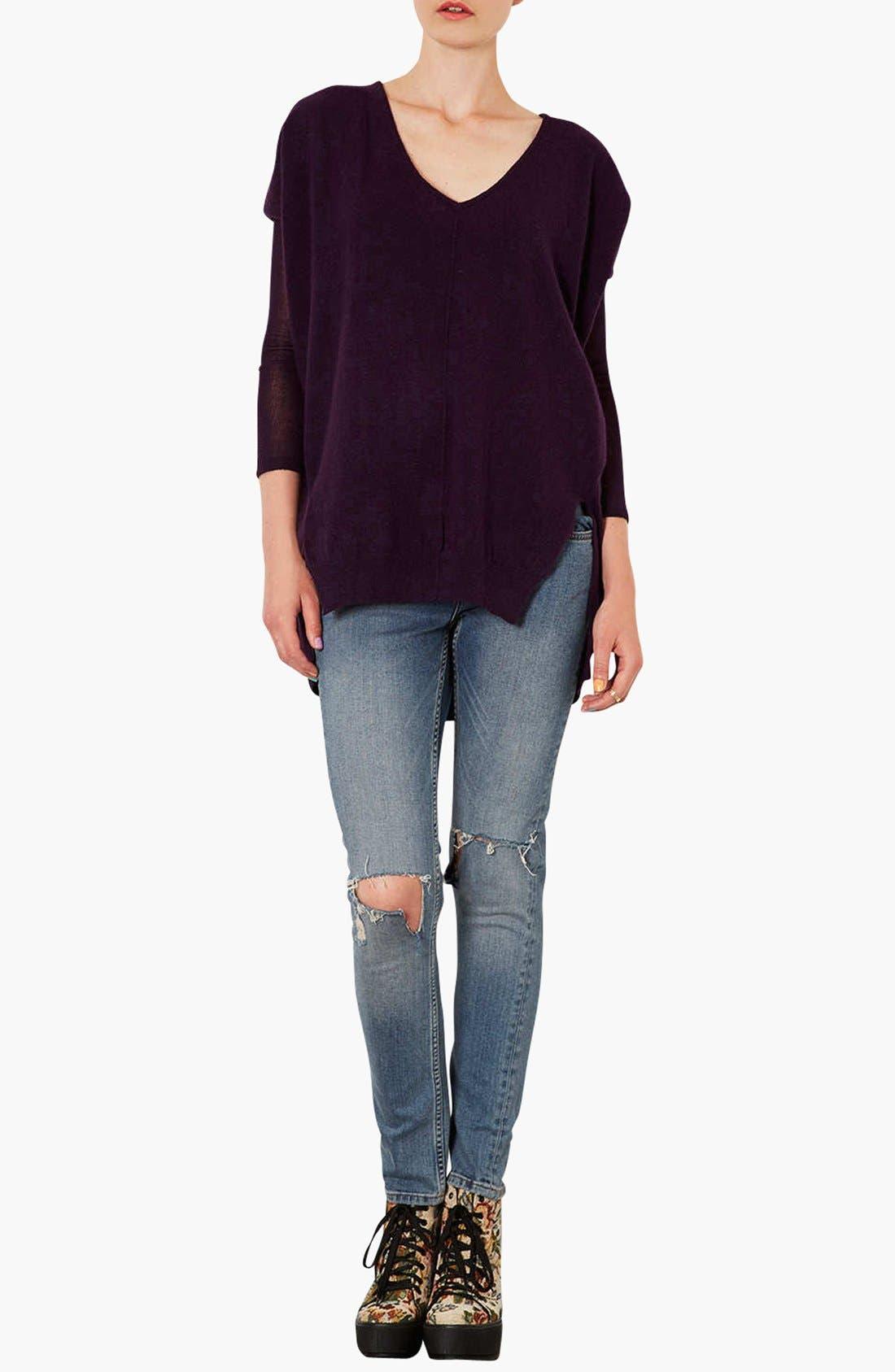Alternate Image 4  - Topshop Lightweight V-Neck Sweater