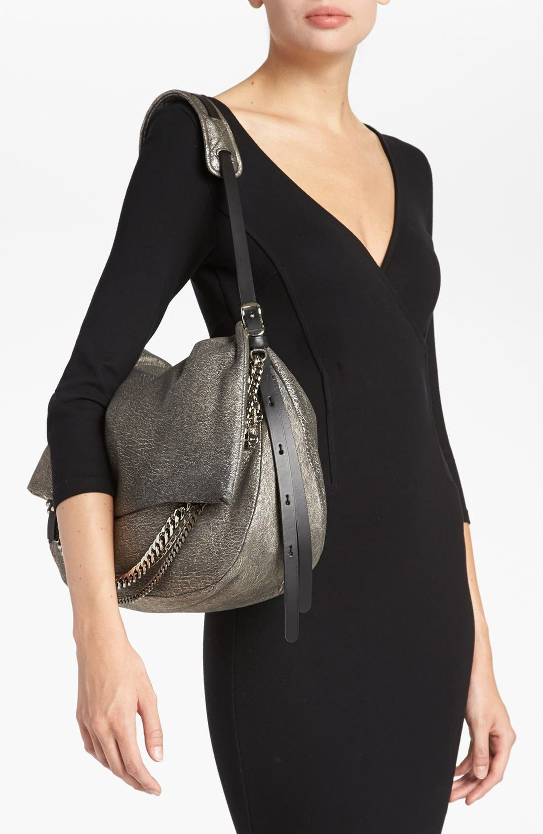 Alternate Image 2  - Jimmy Choo 'Biker - Large' Metallic Suede Shoulder Bag