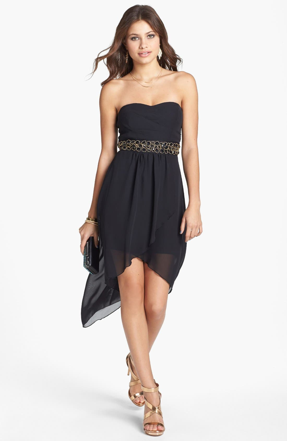 Main Image - Trixxi Embellished High/Low Chiffon Dress (Juniors)