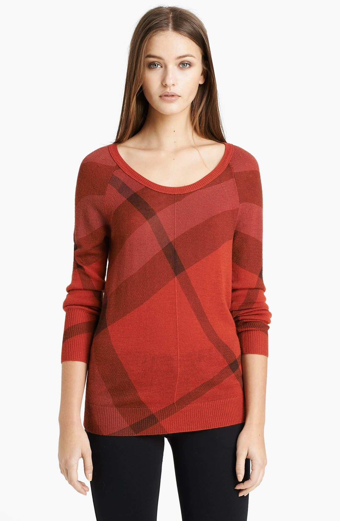 Alternate Image 1 Selected - Burberry Brit Check Pattern Merino & Cashmere Sweater
