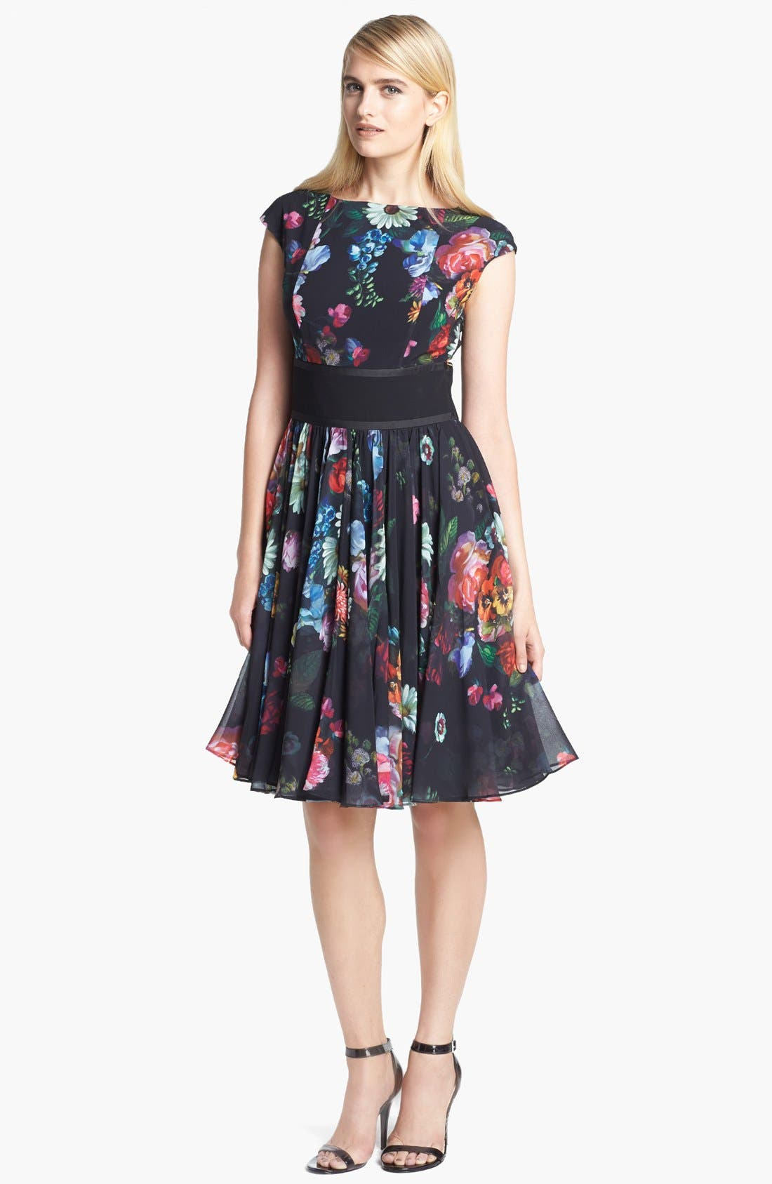 Alternate Image 1 Selected - Ted Baker London 'Oil Painting' Print Fit & Flare Dress