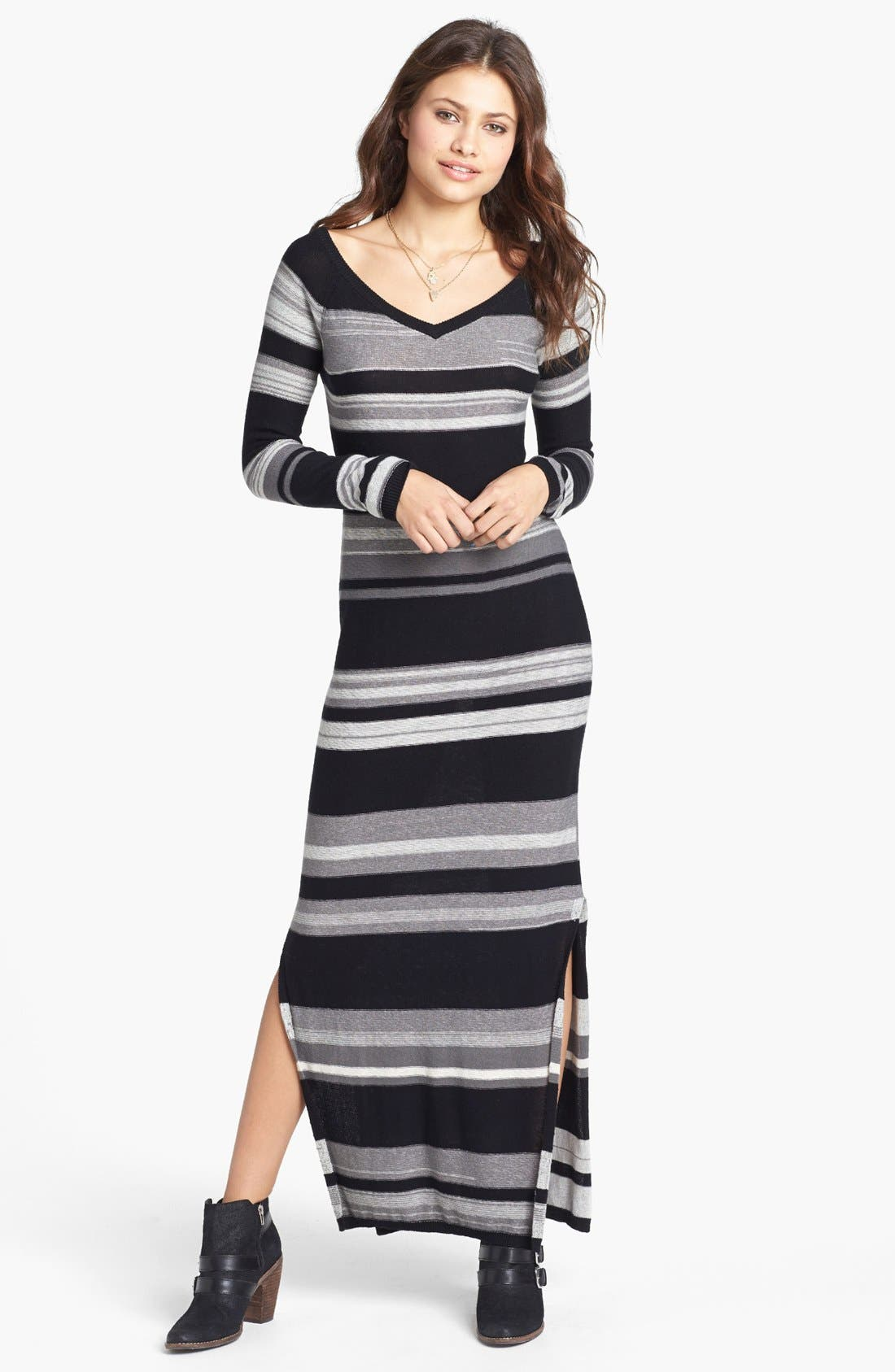 Alternate Image 1 Selected - Rubbish® V-Neck Sweater Maxi Dress (Juniors)