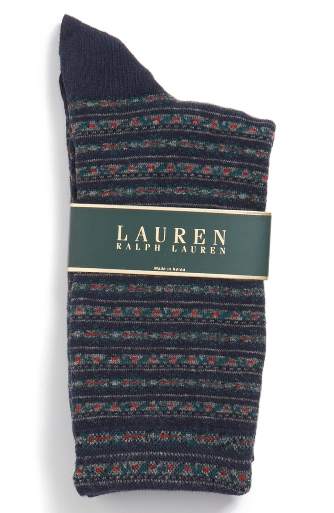 Alternate Image 2  - Ralph Lauren Floral Stripe Trouser Socks