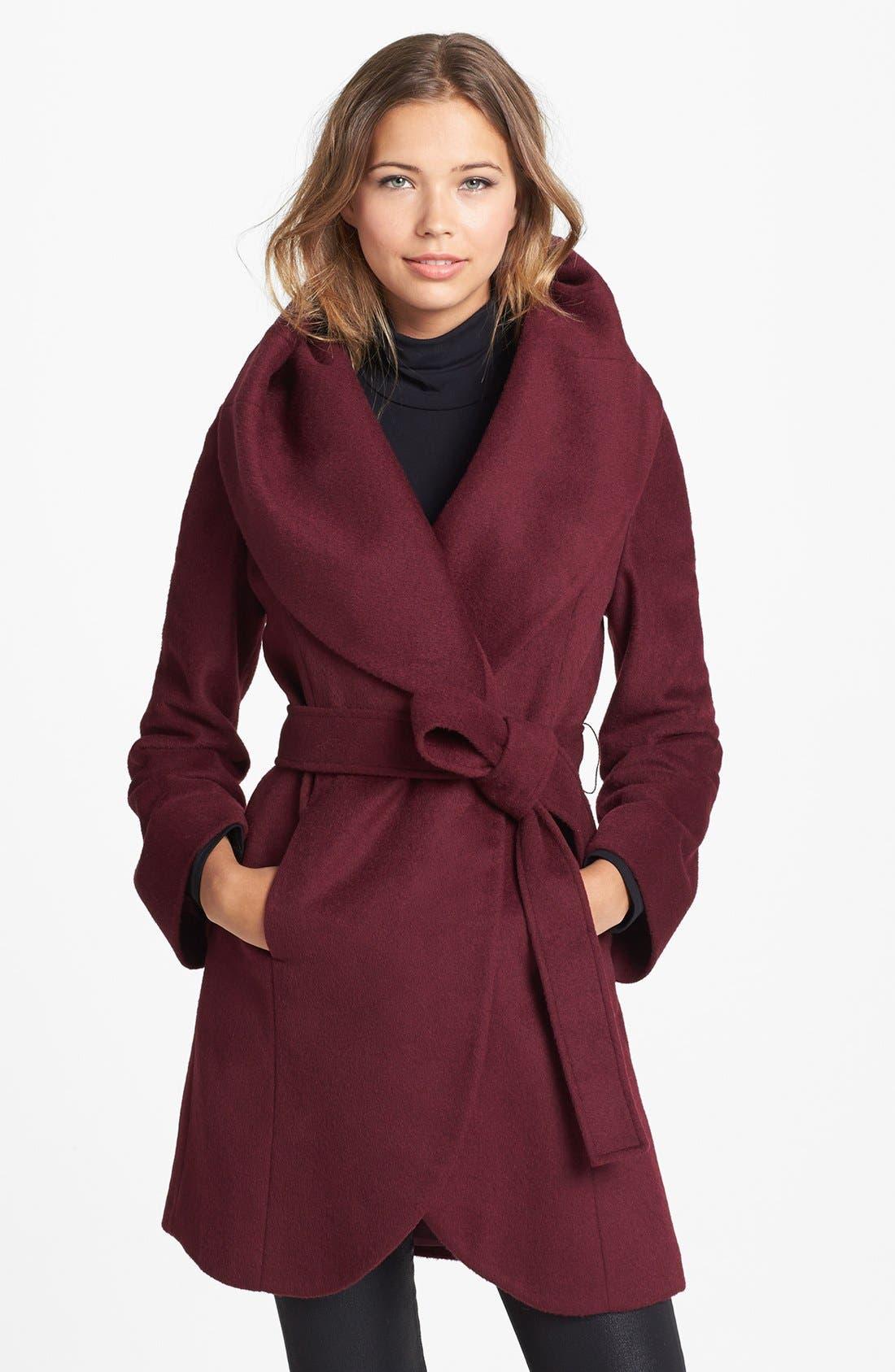 tahari marla cutaway wrap coat with oversized collar