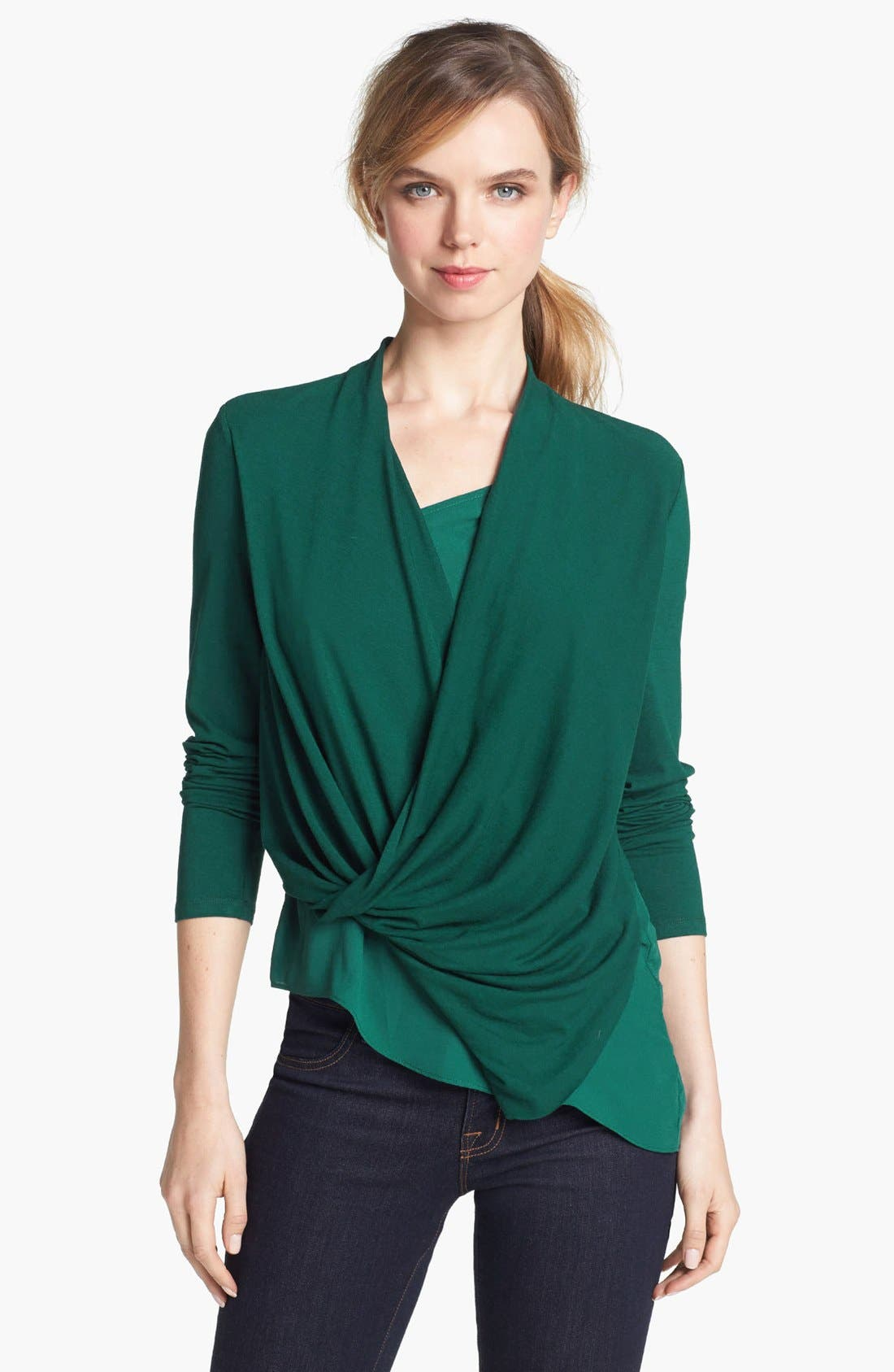 Main Image - Vince Camuto Mixed Media Wrap Top (Online Exclusive)