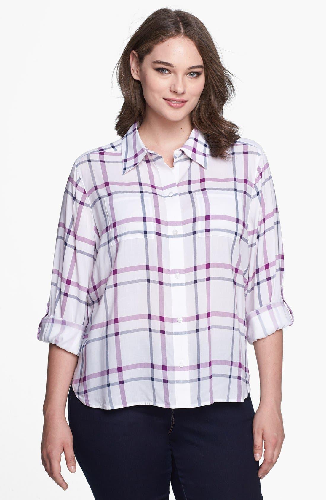 Alternate Image 1 Selected - Foxcroft Windowpane Plaid Shirt (Plus Size)