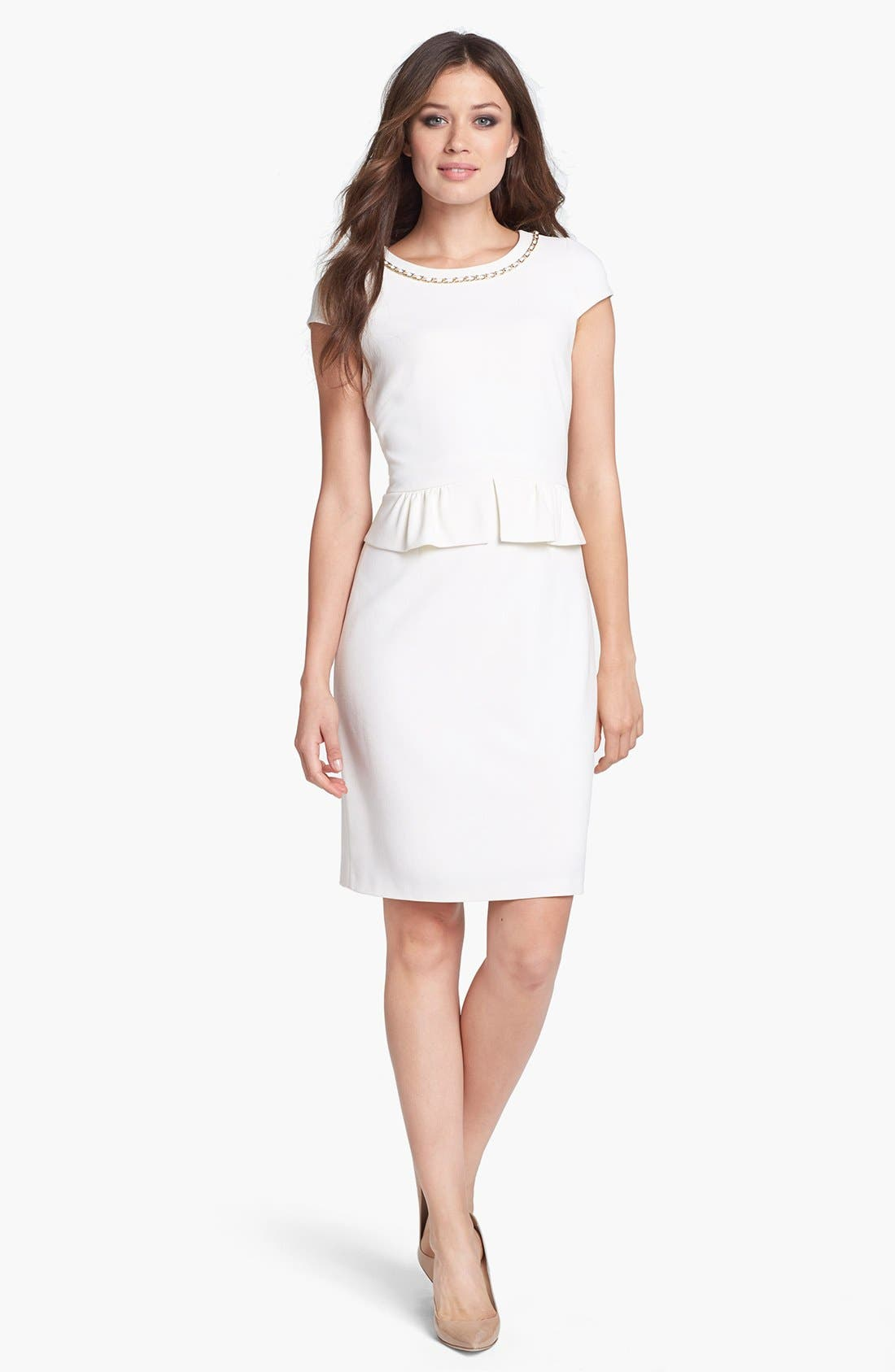 Alternate Image 2  - Tahari Chain Detail Stretch Crepe Peplum Sheath Dress