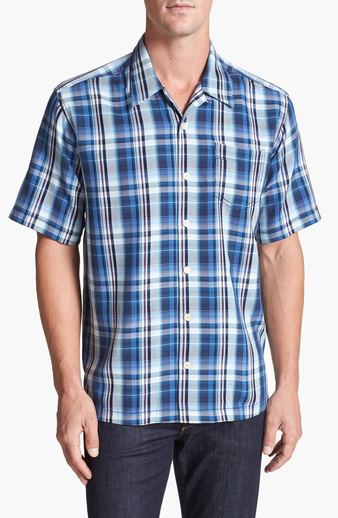 Alternate Image 1 Selected - Tommy Bahama 'Ocean Abyss' Silk Campshirt (Big & Tall)